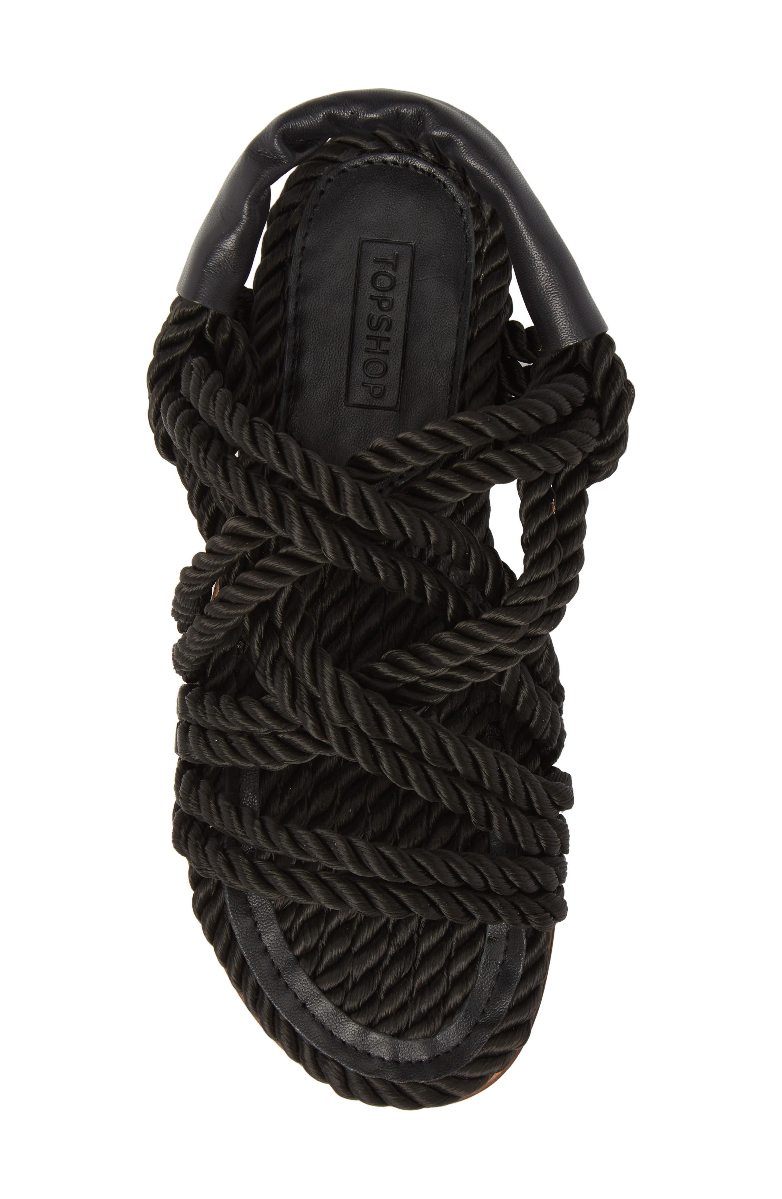 Fiesta Rope Flat Sandal,                             Alternate thumbnail 5, color,                             001