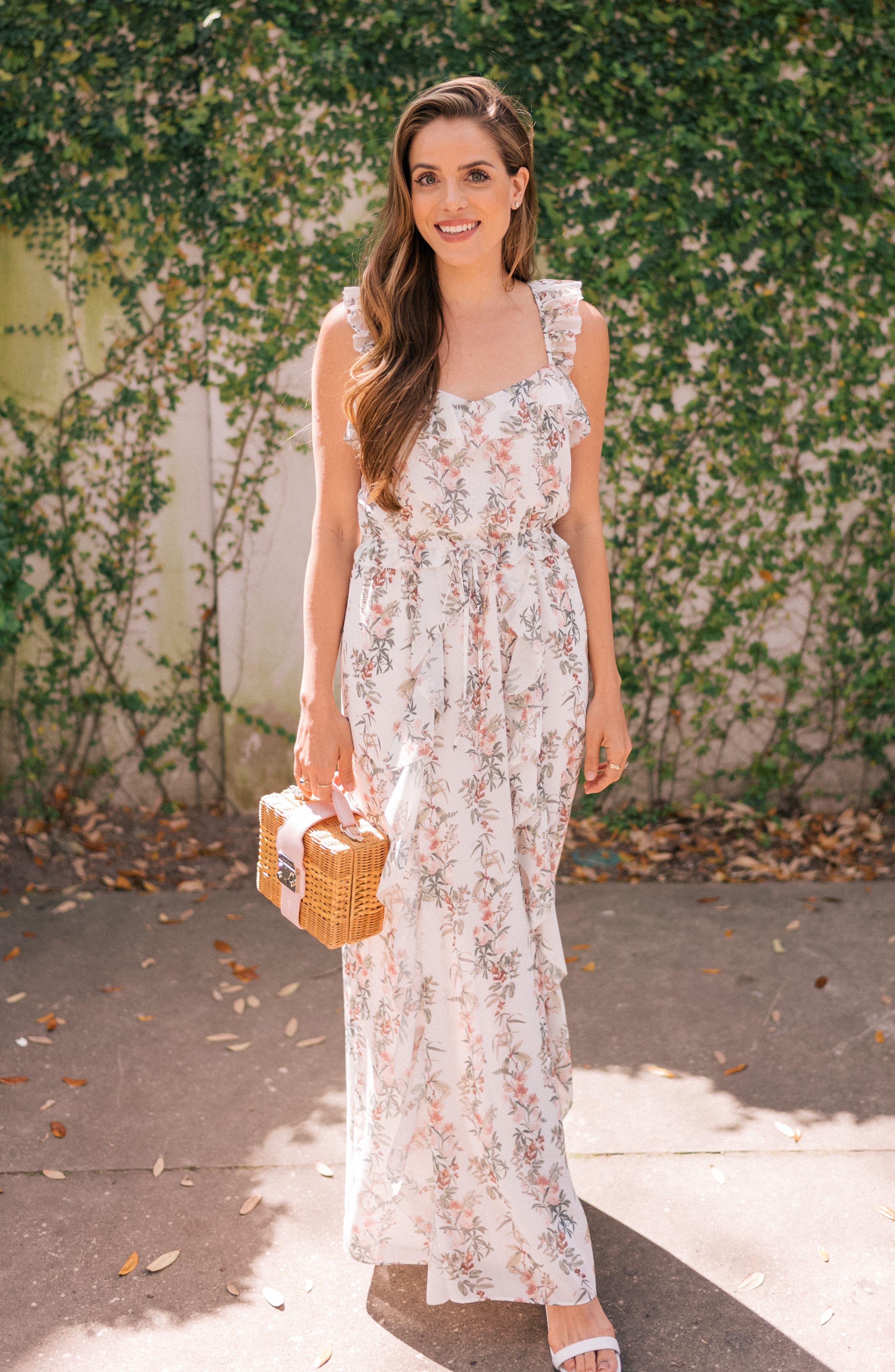 Isabella Floral Stripe Cross Back Maxi Dress,                             Alternate thumbnail 8, color,                             900