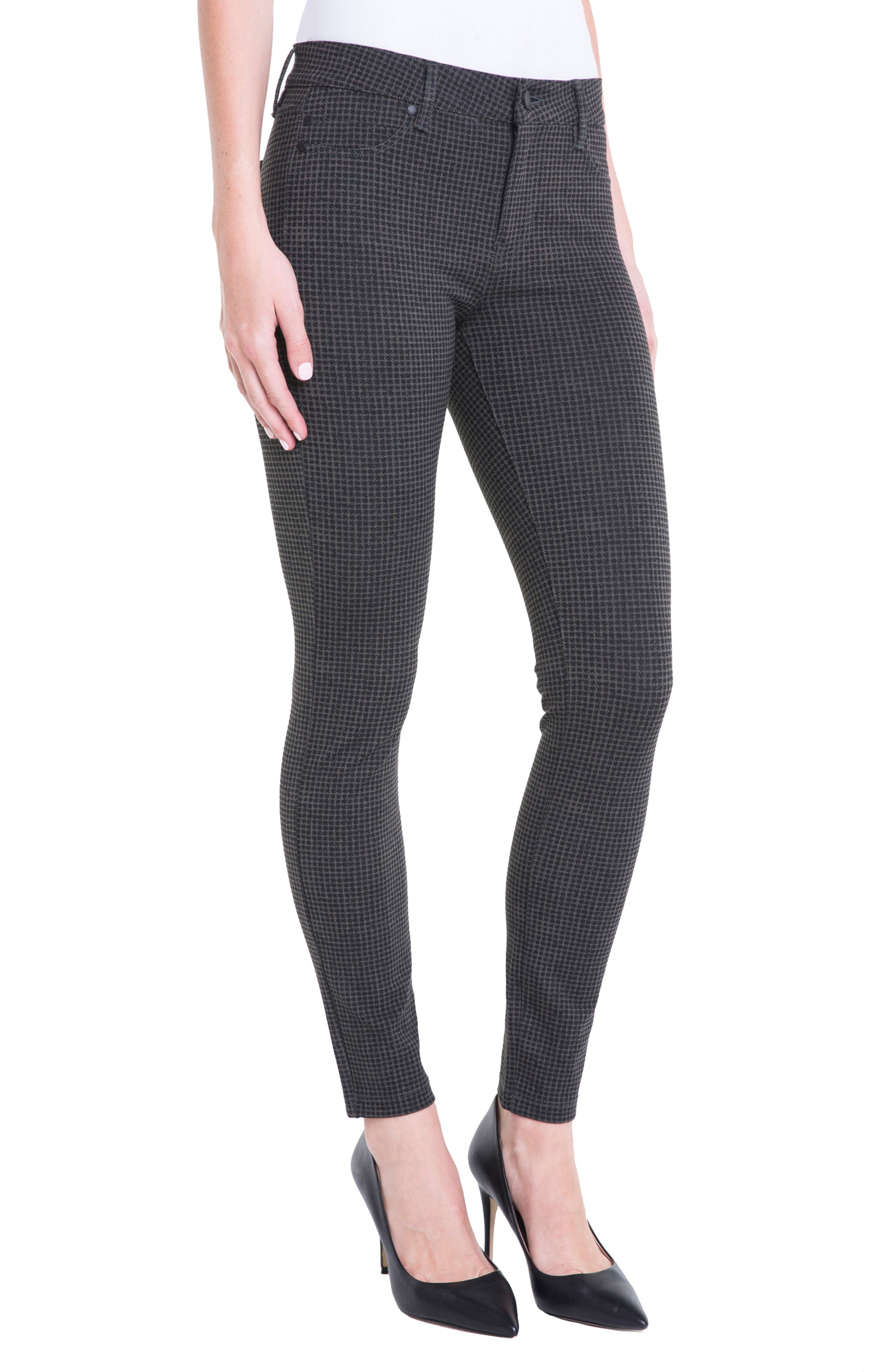 Houndstooth Super Skinny Ponte Knit Pants,                             Alternate thumbnail 3, color,                             308