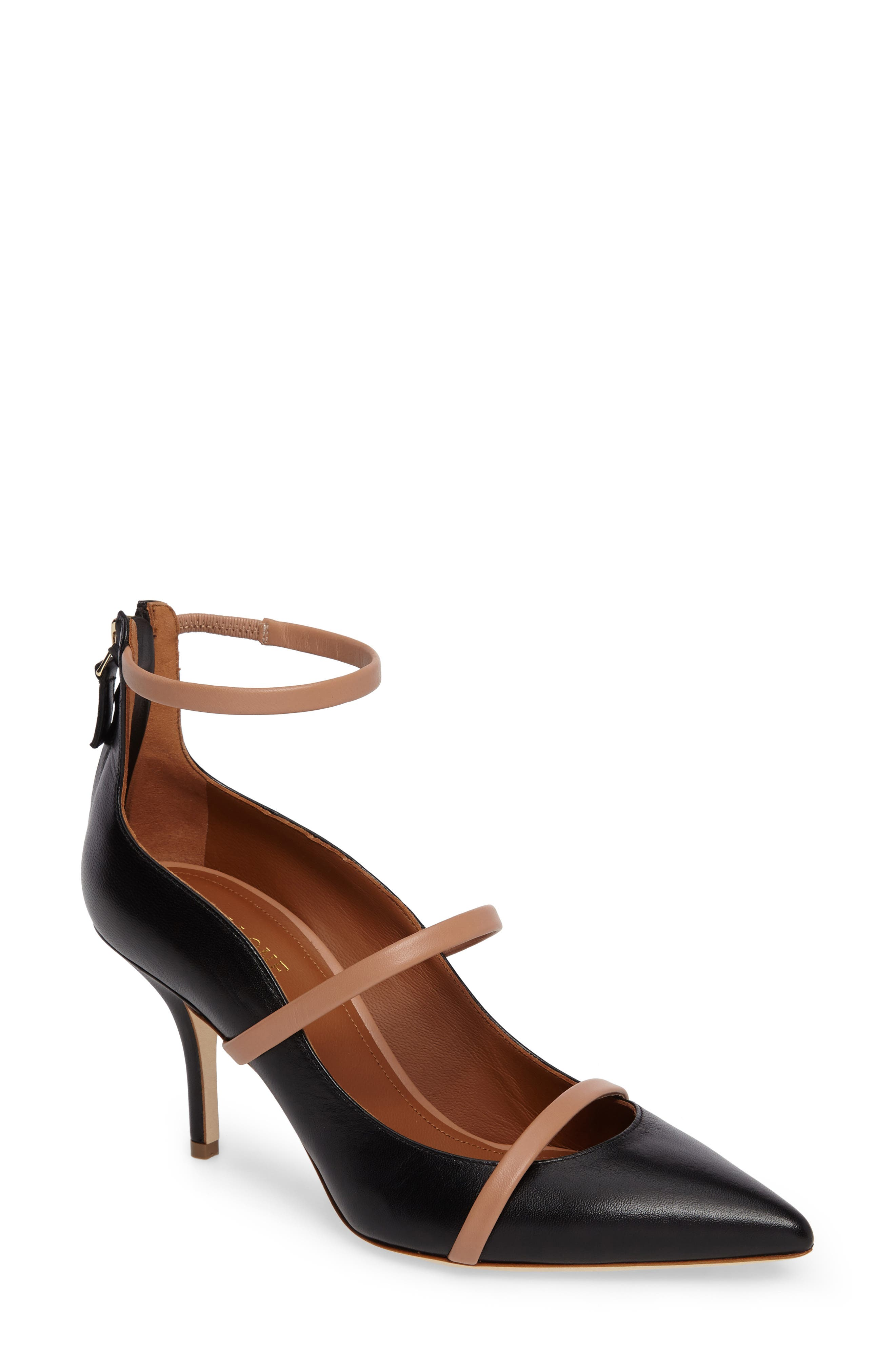 Robyn Ankle Strap Pump,                             Main thumbnail 1, color,                             BLACK/ NUDE