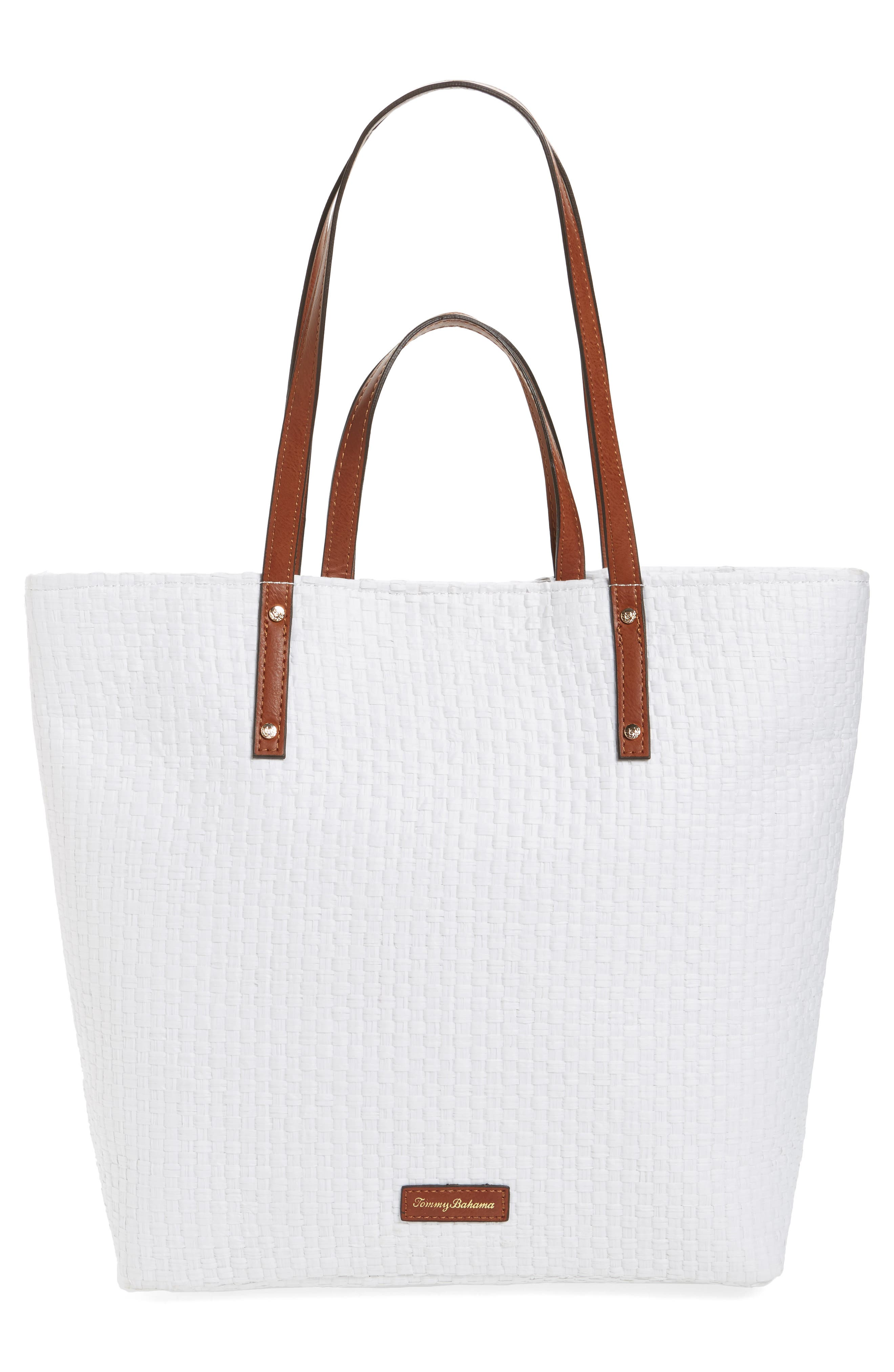 Athen - Seas the Day Embroidered Straw Tote,                             Alternate thumbnail 3, color,                             400