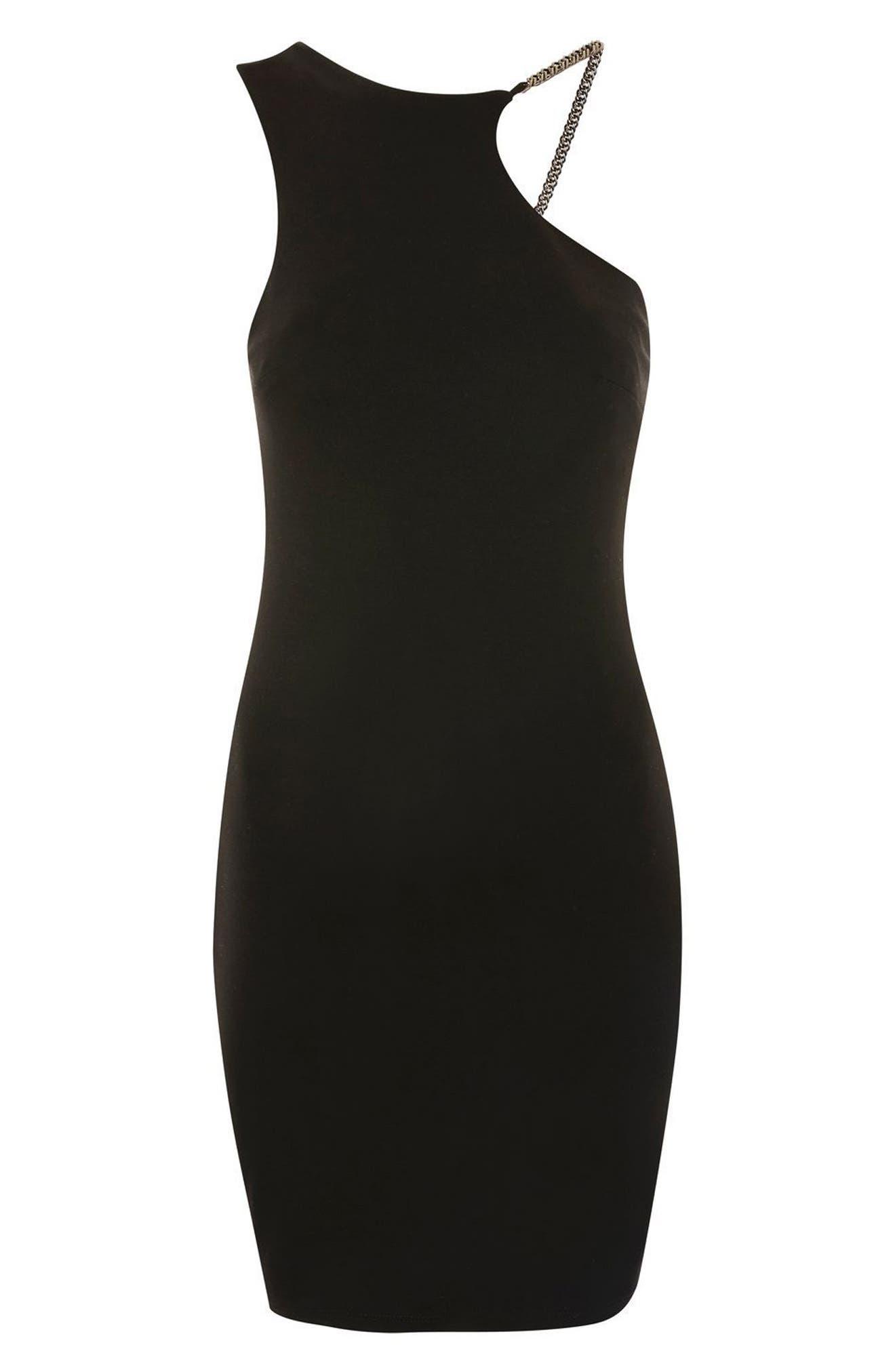 Chain Curve Mini Body-Con Dress,                             Alternate thumbnail 4, color,
