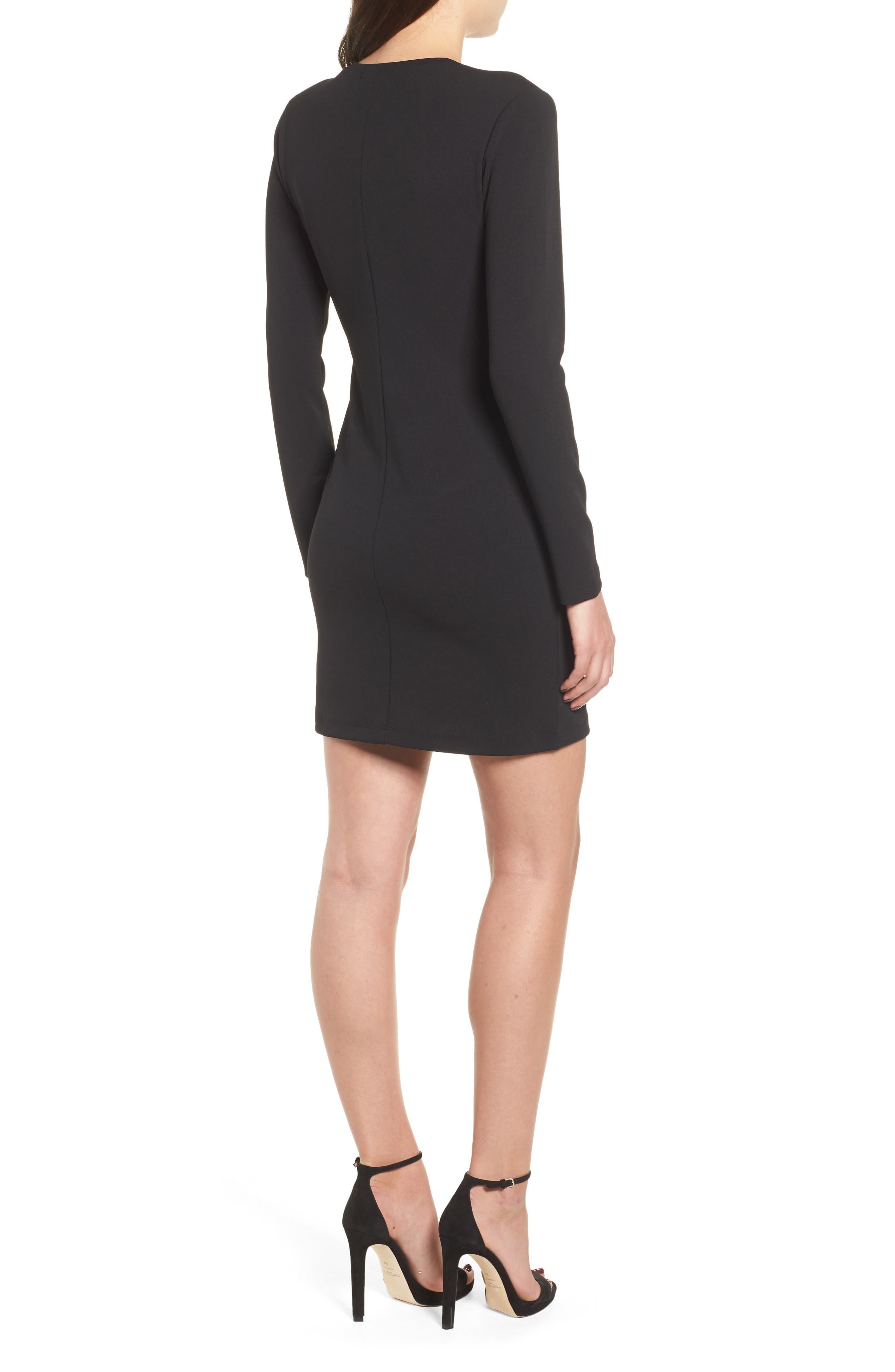 Long Sleeve Body-Con Dress,                             Alternate thumbnail 2, color,                             001