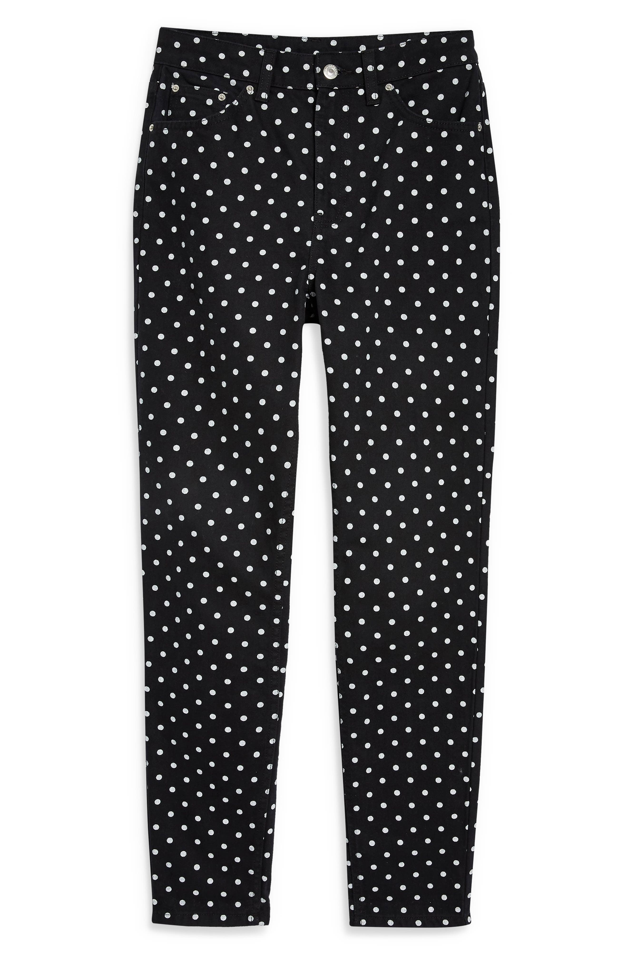 MOTO Polka Dot Mom Jeans,                             Alternate thumbnail 4, color,                             BLACK MULTI