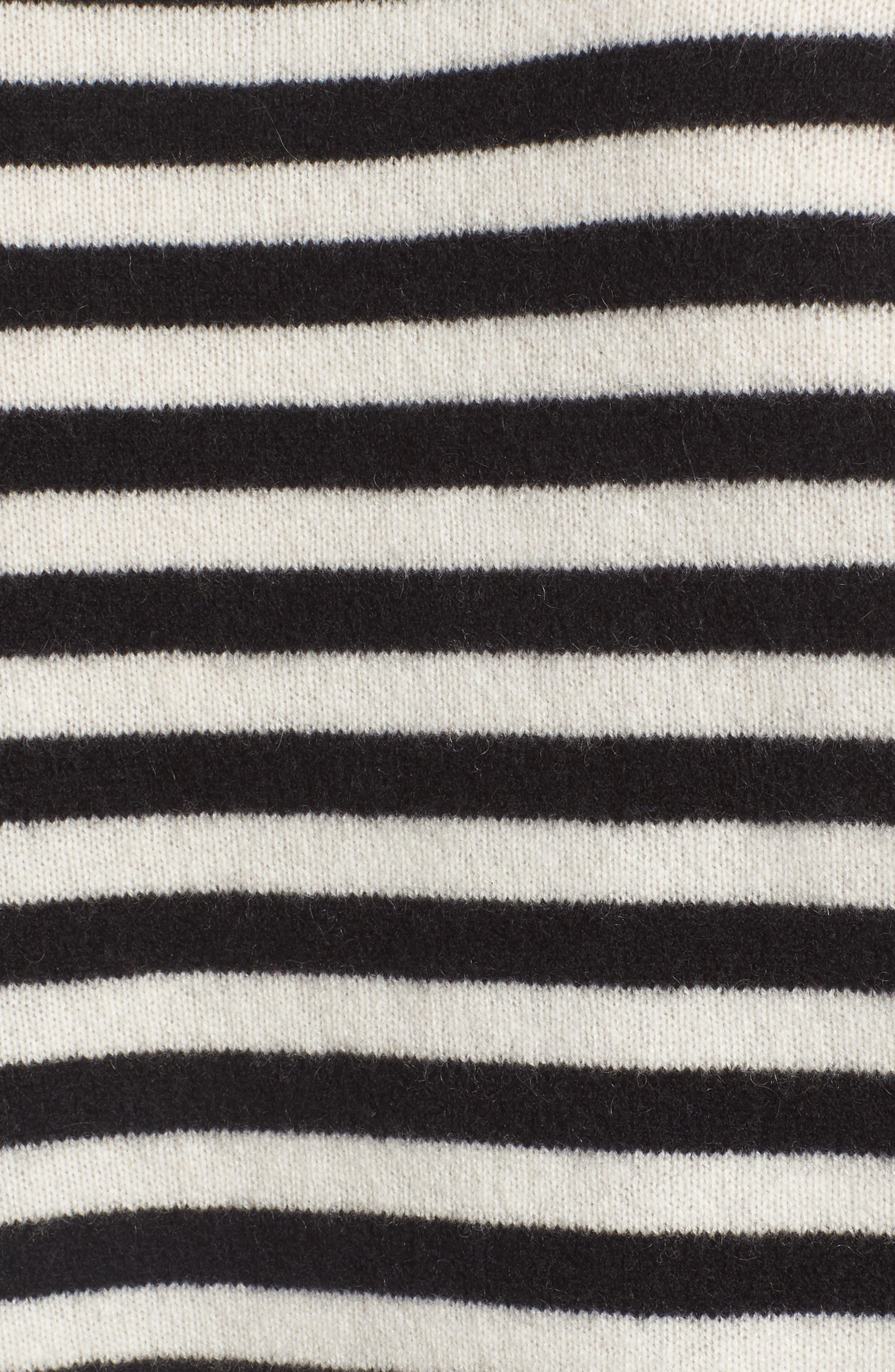Stripe Cashmere Sweater,                             Alternate thumbnail 5, color,                             001