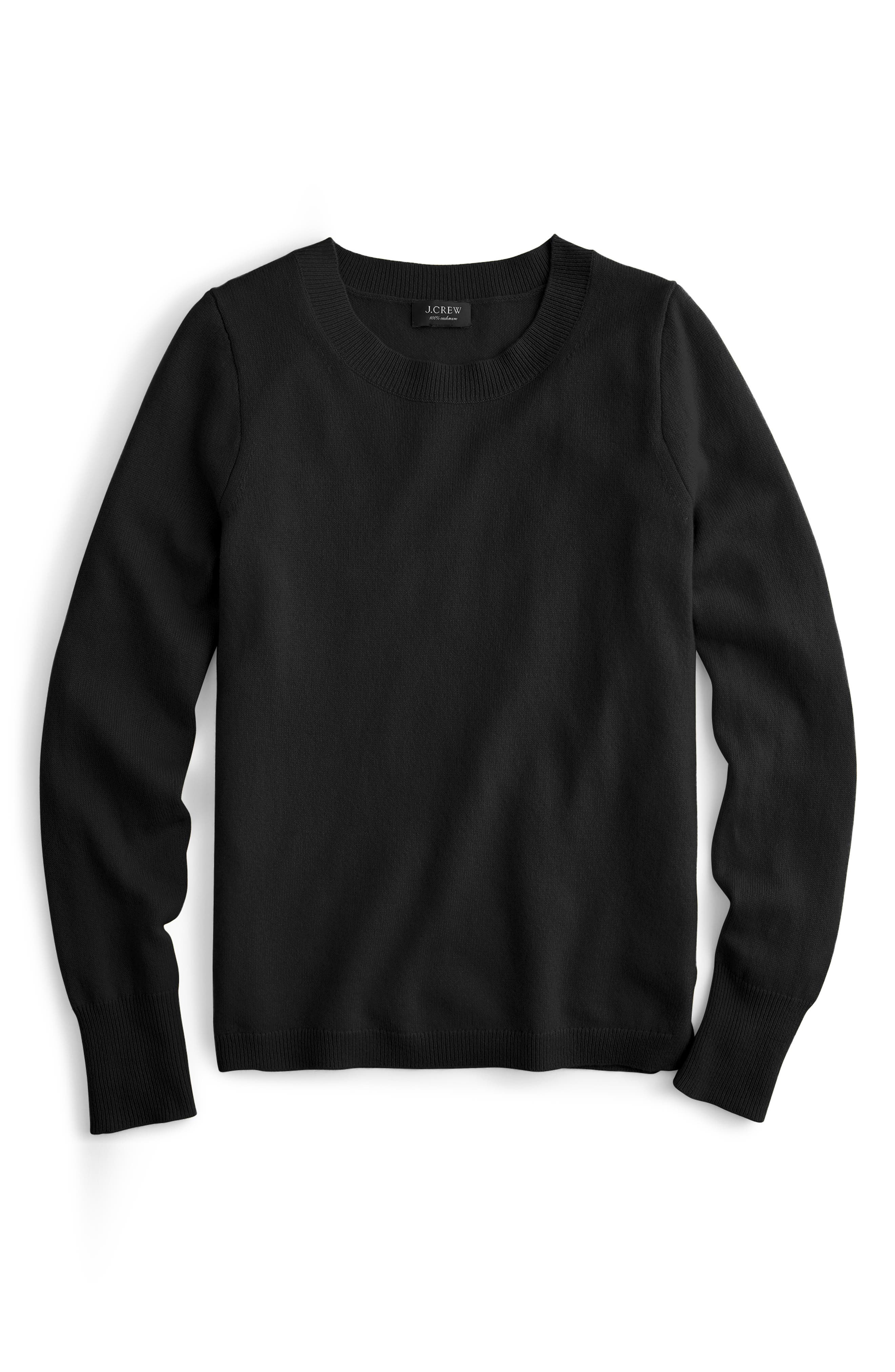 J.CREW,                             Crewneck Cashmere Sweater,                             Alternate thumbnail 4, color,                             BLACK