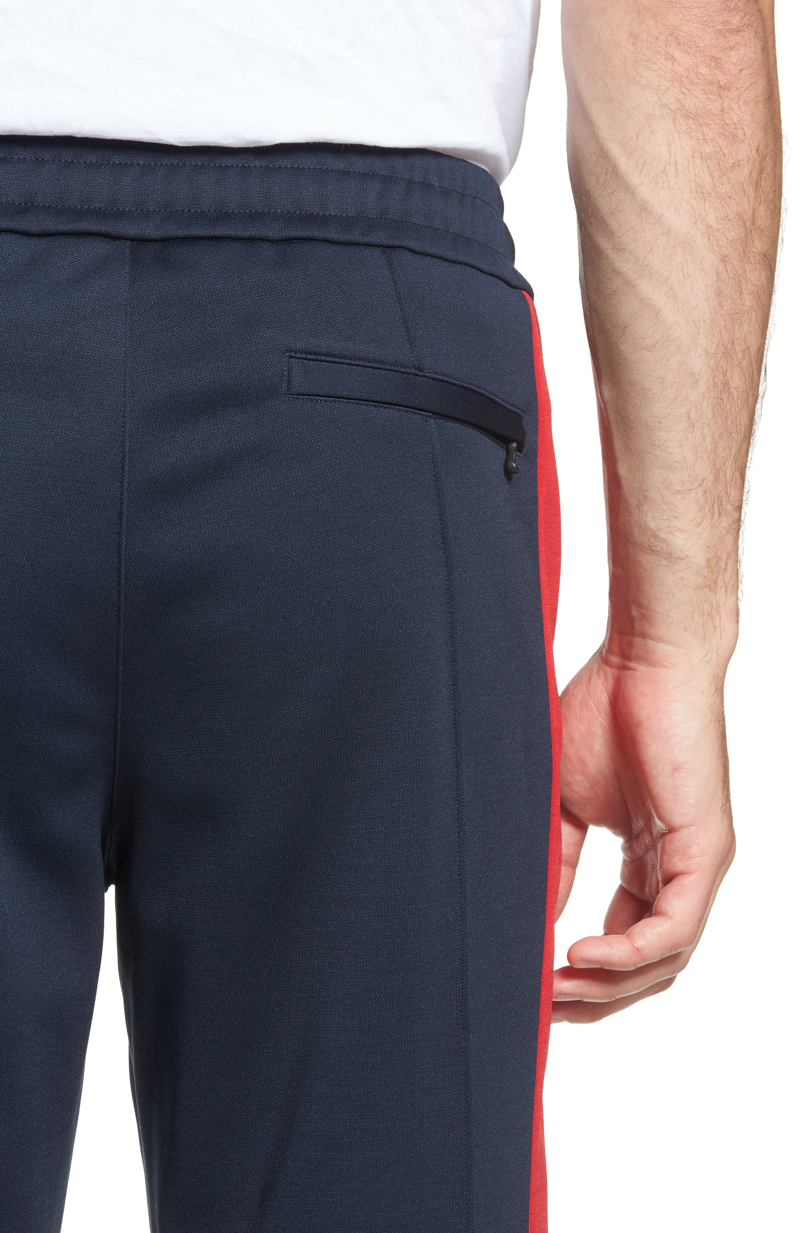 Club Slim Fit Track Pants,                             Alternate thumbnail 4, color,                             NAVY/ RED