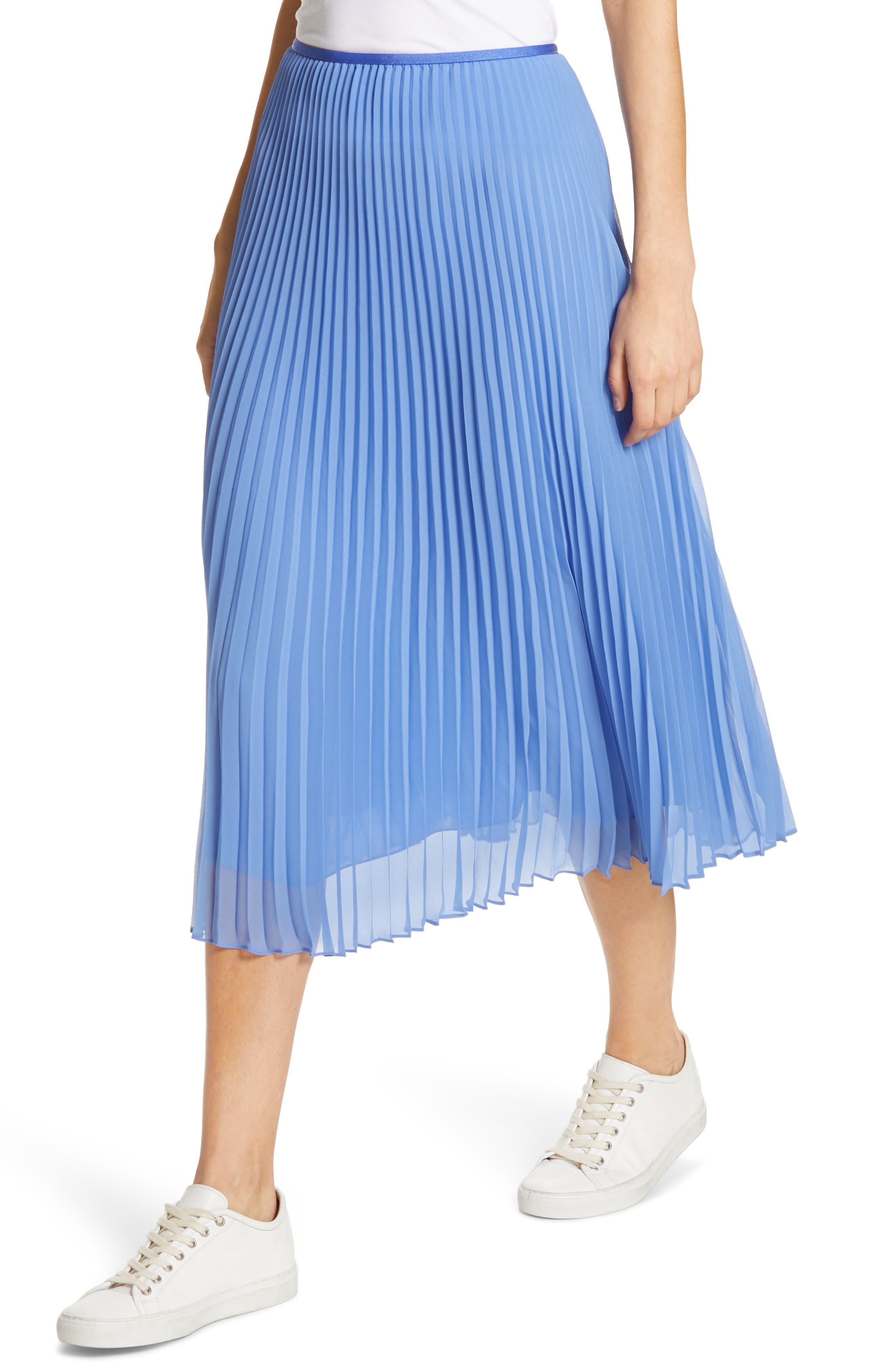 Pleat Midi Skirt,                             Alternate thumbnail 4, color,                             BERMUDA BLUE