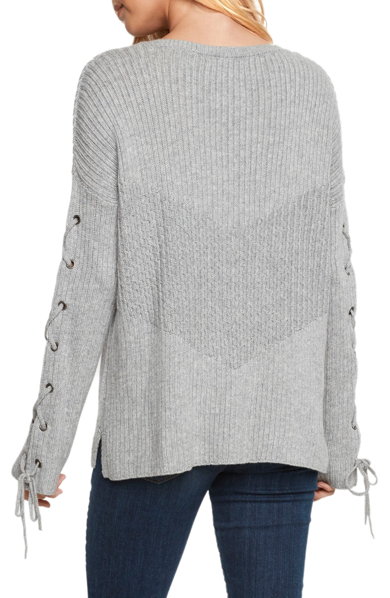 Lace-Up Sleeve Sweater,                             Alternate thumbnail 2, color,