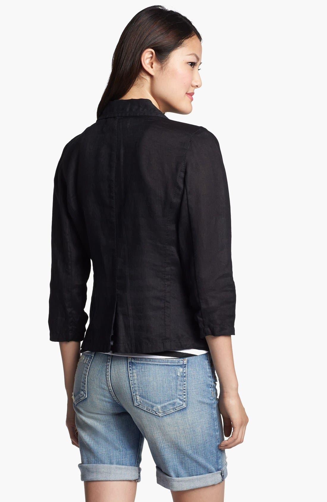 Two Button Linen Jacket,                             Alternate thumbnail 5, color,                             001