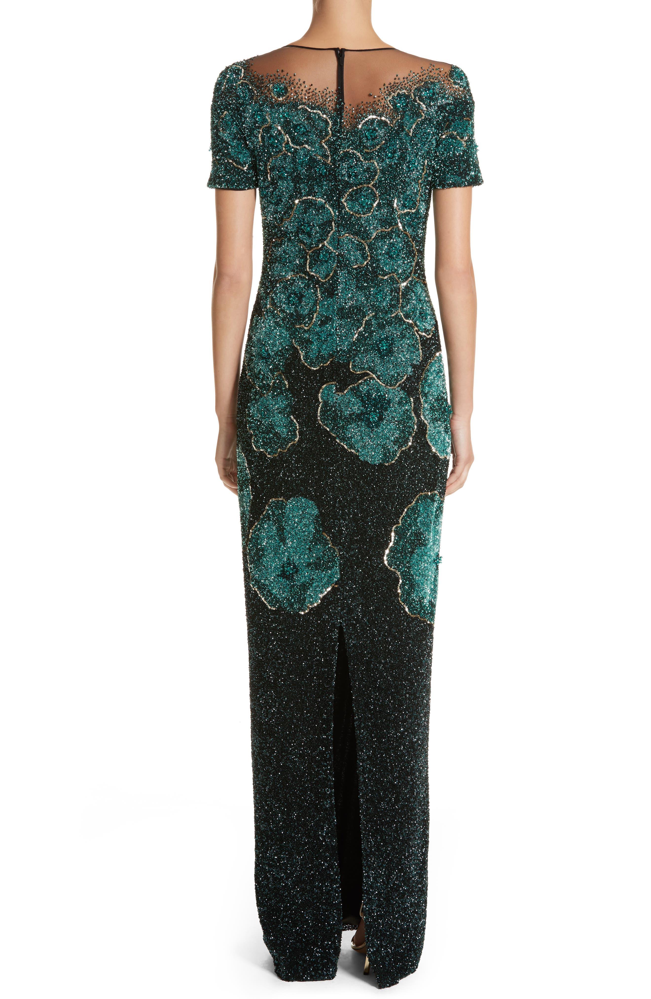 Floral Sequin Column Gown,                             Alternate thumbnail 2, color,