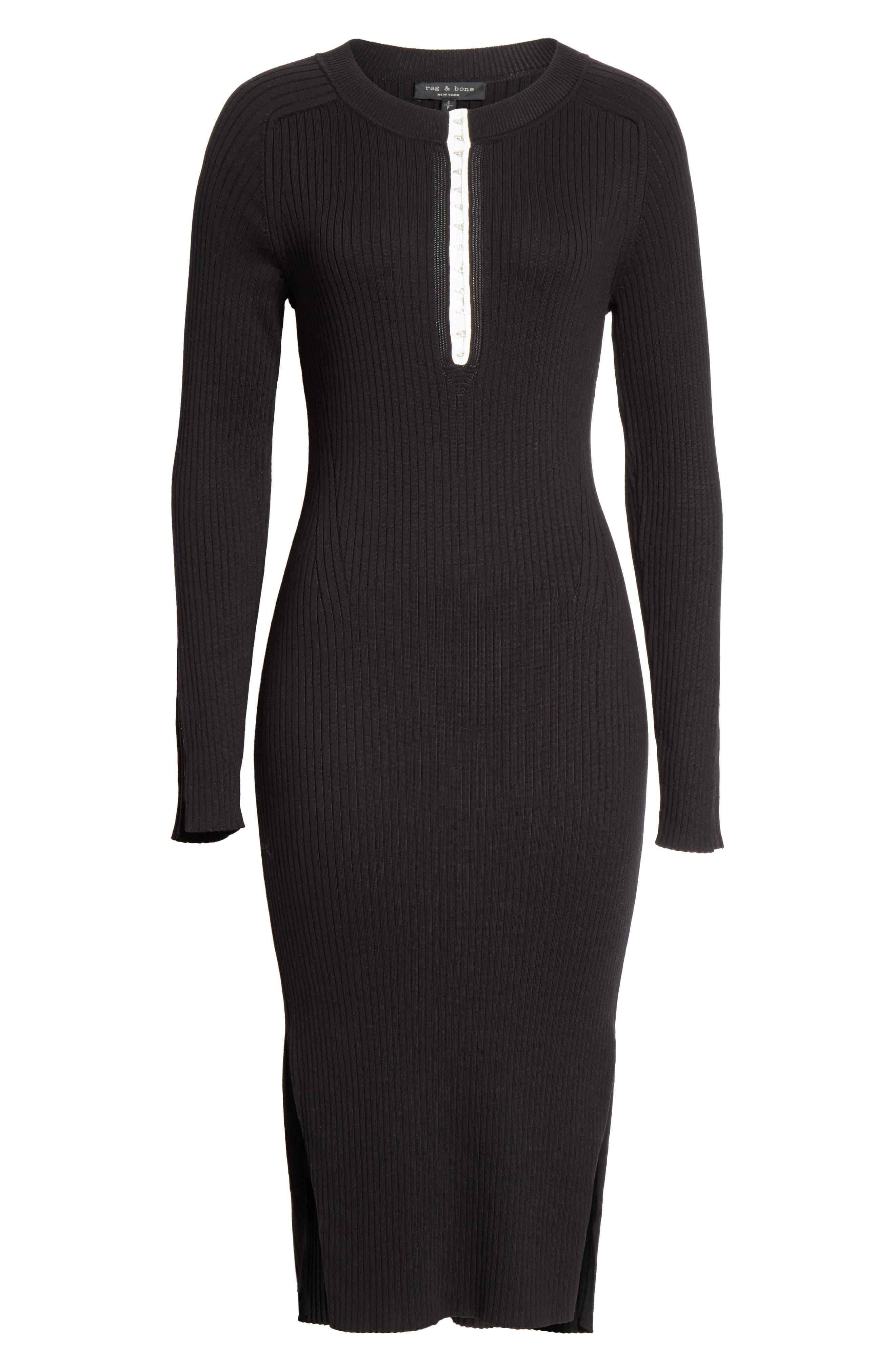 RAG & BONE,                             Brynn Rib Knit Dress,                             Alternate thumbnail 7, color,                             BLACK