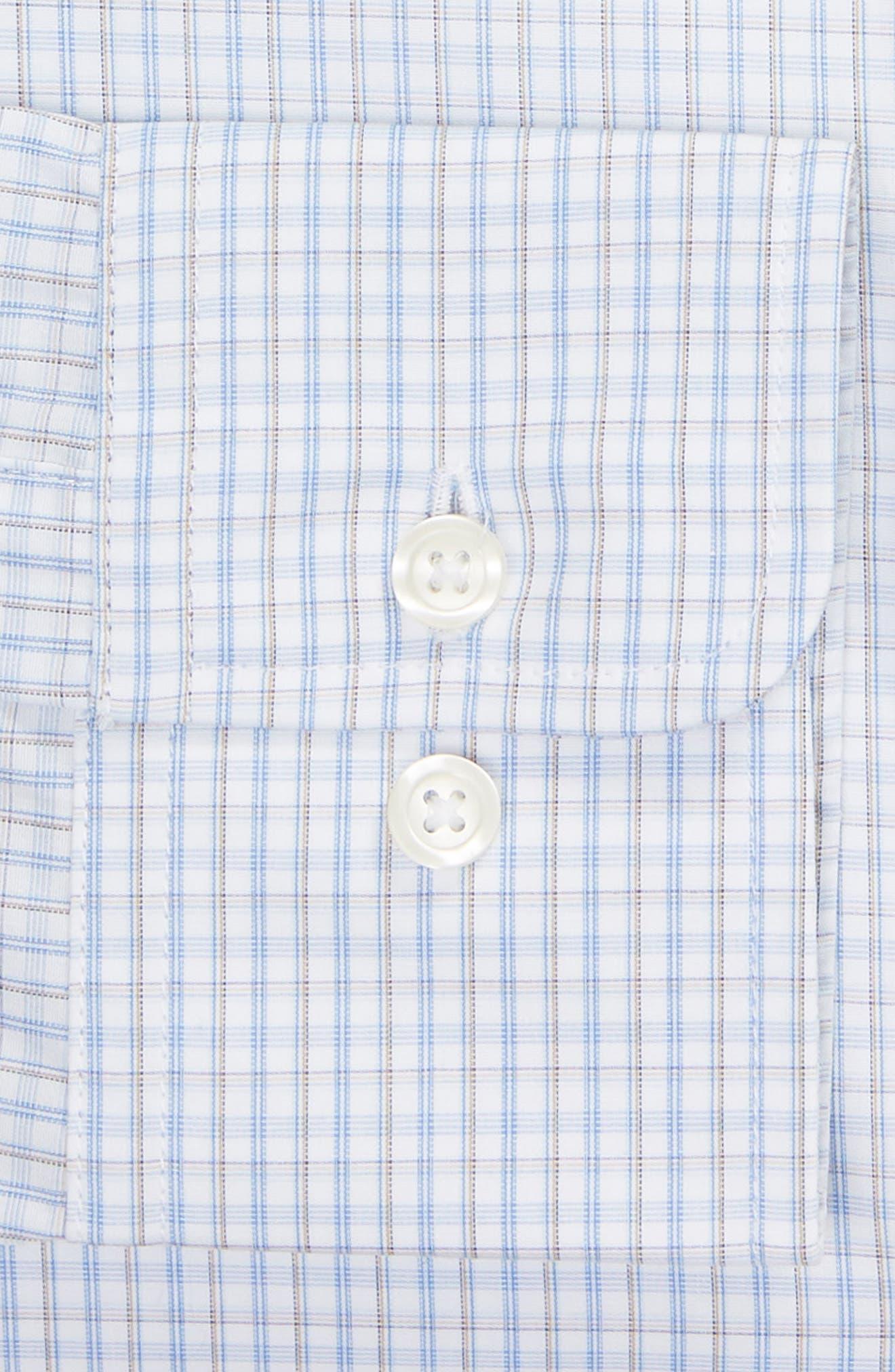 Classic Fit Check Dress Shirt,                             Alternate thumbnail 6, color,                             BROWN