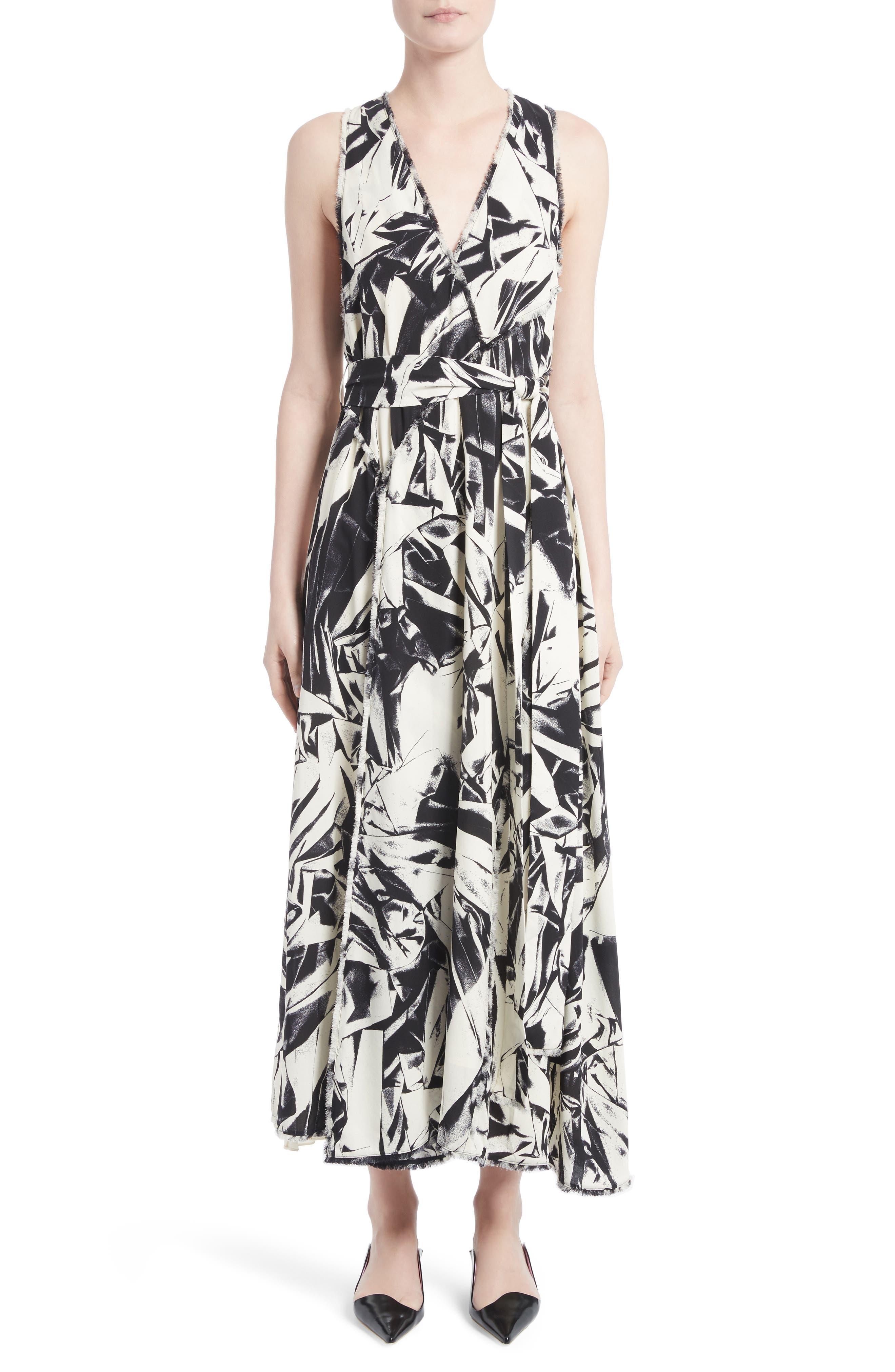 Print Silk Georgette Maxi Dress,                             Alternate thumbnail 5, color,                             001