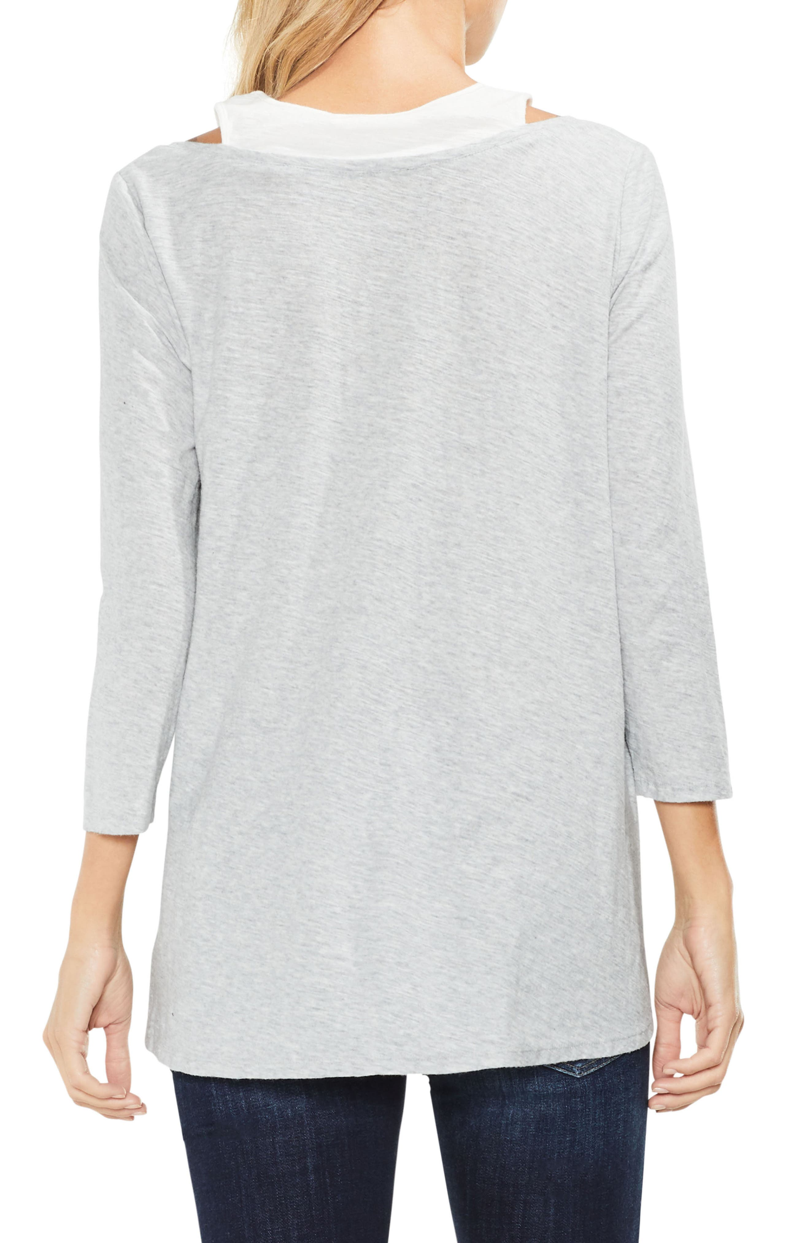 Two by Vince Camuto Layered Top,                             Alternate thumbnail 2, color,                             050