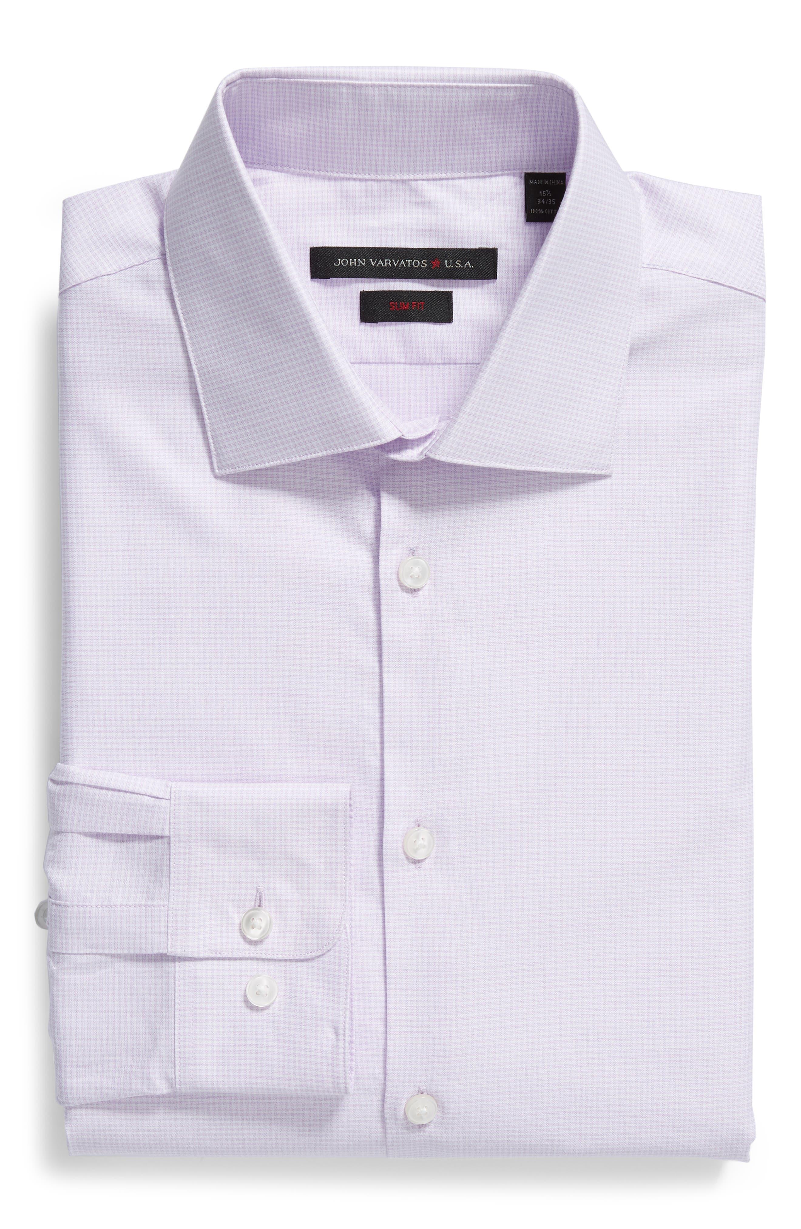 Slim Fit Check Dress Shirt,                             Alternate thumbnail 5, color,                             PINK HAZE