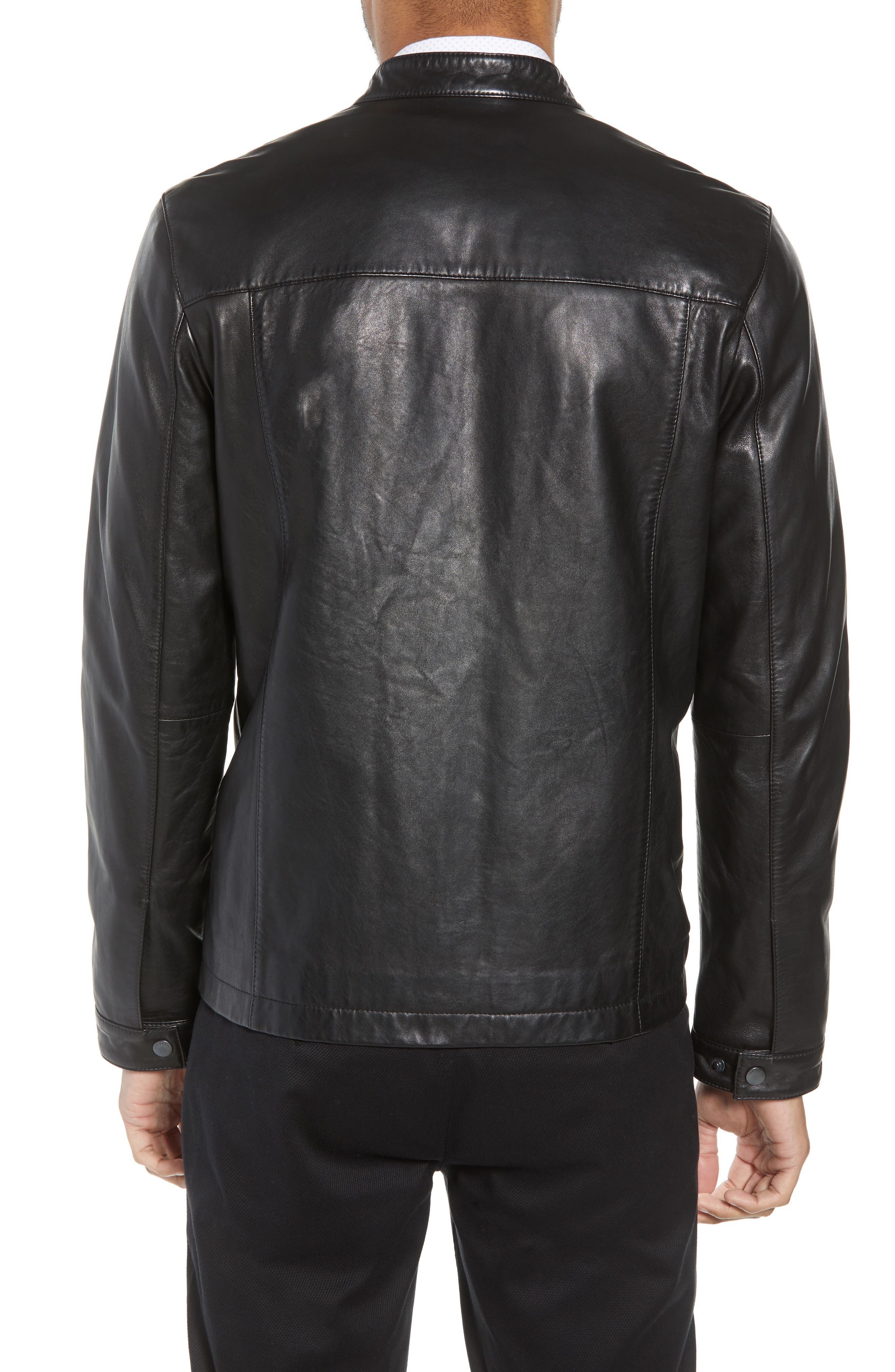 Ginga Trim Fit Leather Jacket,                             Alternate thumbnail 2, color,                             BLACK