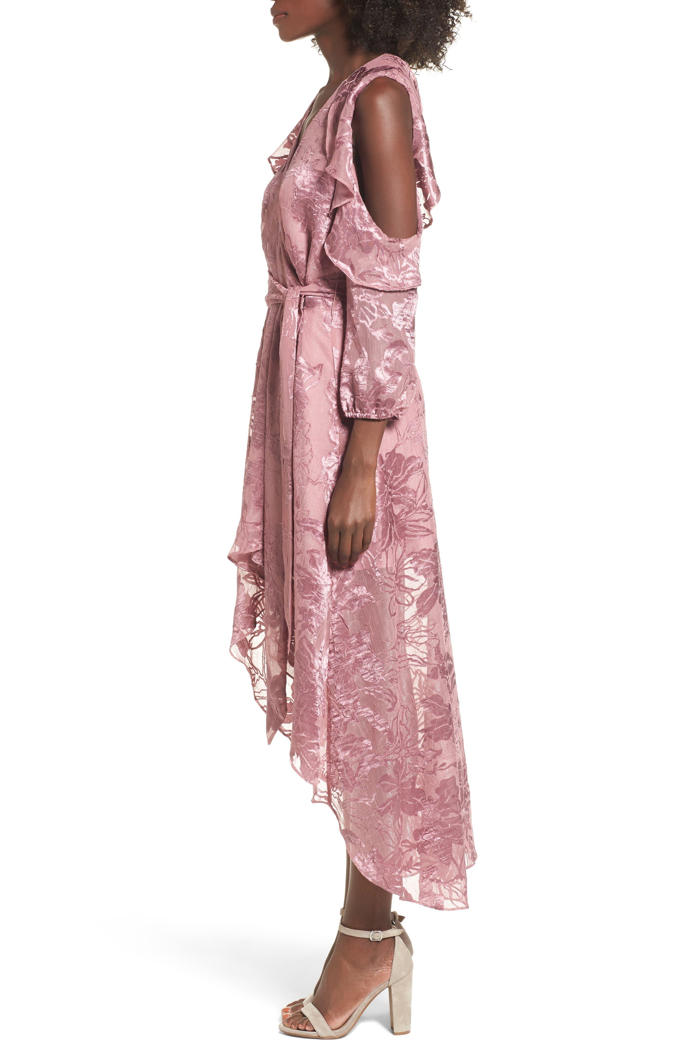 Libra Cold Shoulder Wrap Dress,                             Alternate thumbnail 3, color,