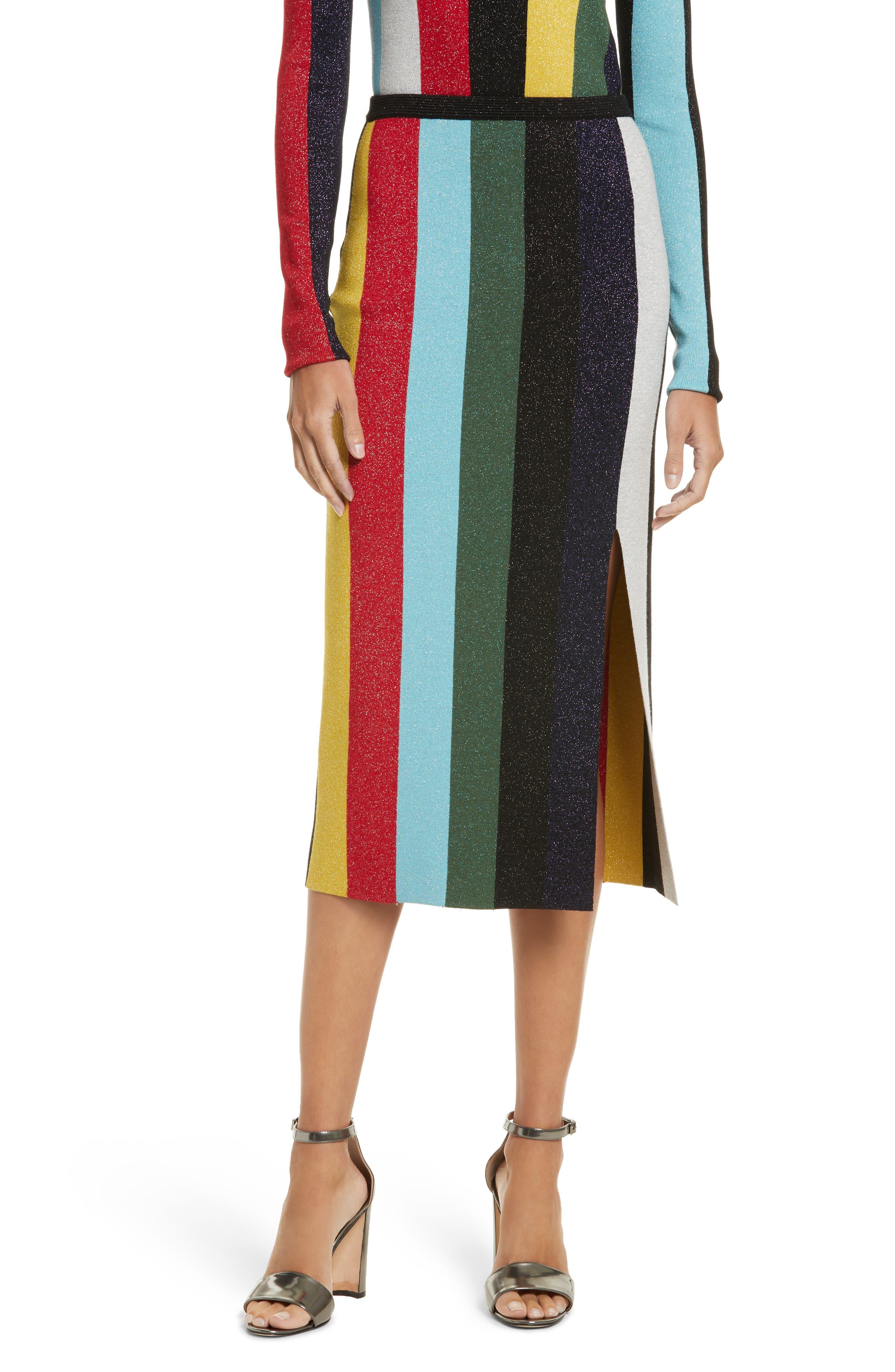 Metallic Stripe Knit Pencil Skirt,                             Main thumbnail 1, color,                             008