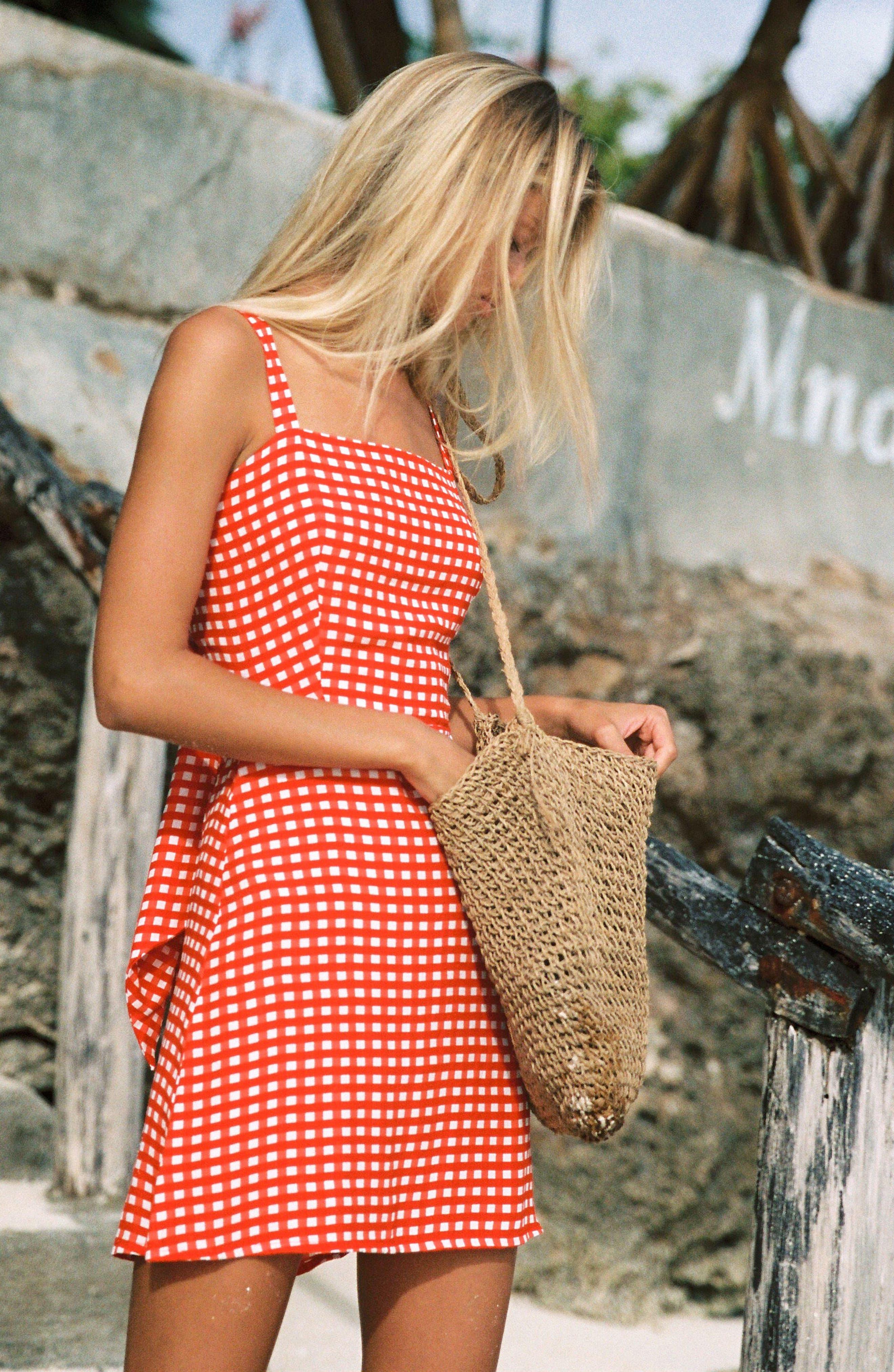 Ischia Gingham Tie Back Dress,                             Alternate thumbnail 4, color,                             KIVOTOS PRINT