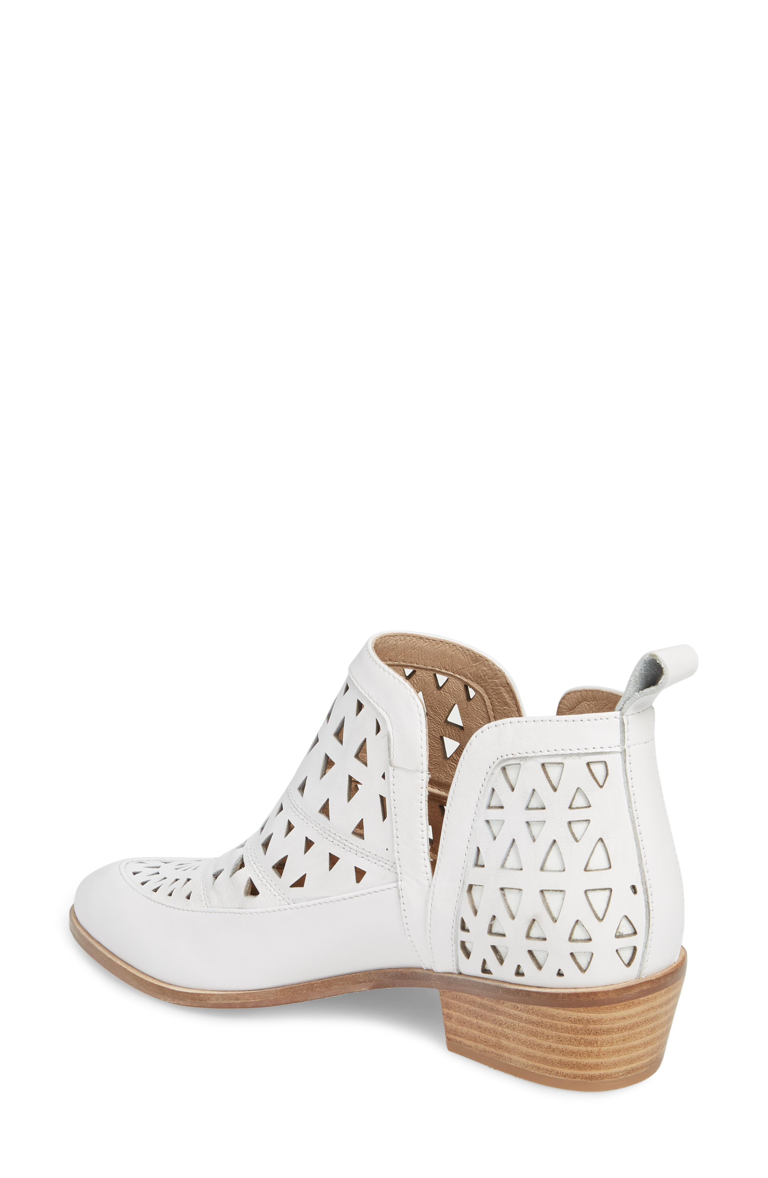 Catherine Cutout Bootie,                             Alternate thumbnail 2, color,                             WHITE LEATHER