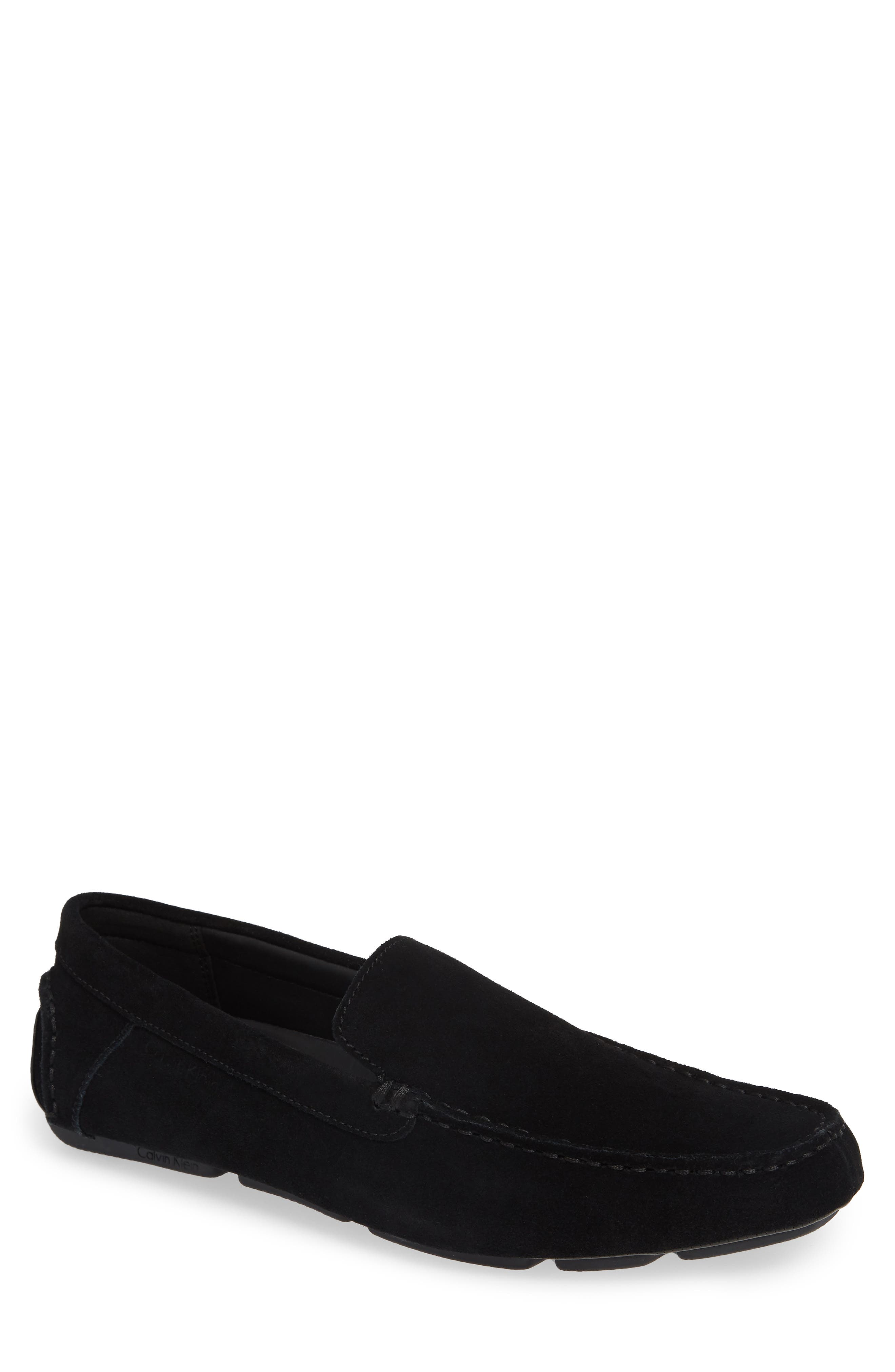 Miguel Textured Driving Loafer,                             Main thumbnail 1, color,                             BLACK CALF SUEDE