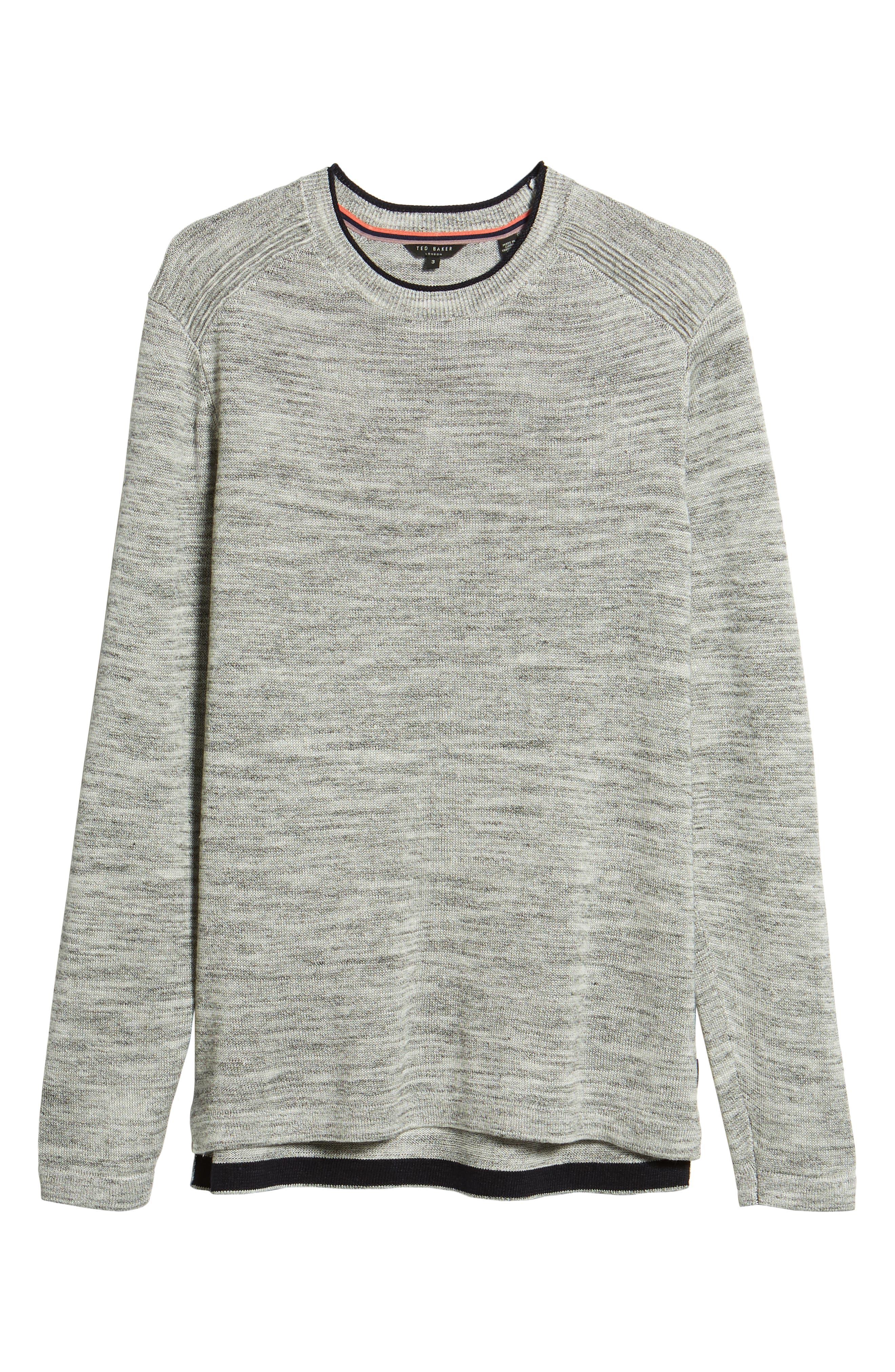 Inzone Crewneck Linen Blend Sweater,                             Alternate thumbnail 6, color,                             LIGHT GREY