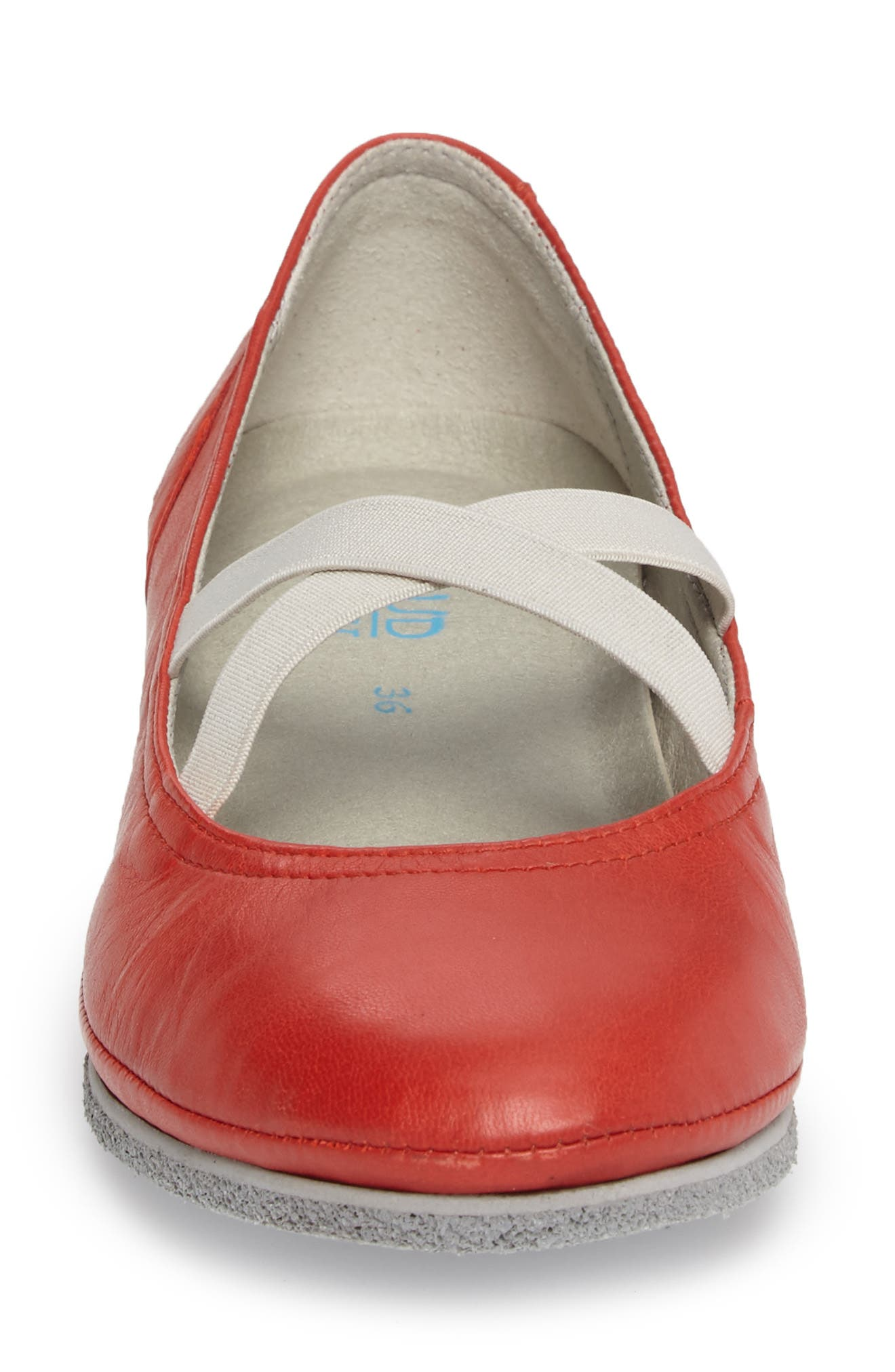 Ballet Strappy Flat,                             Alternate thumbnail 4, color,                             RED LEATHER