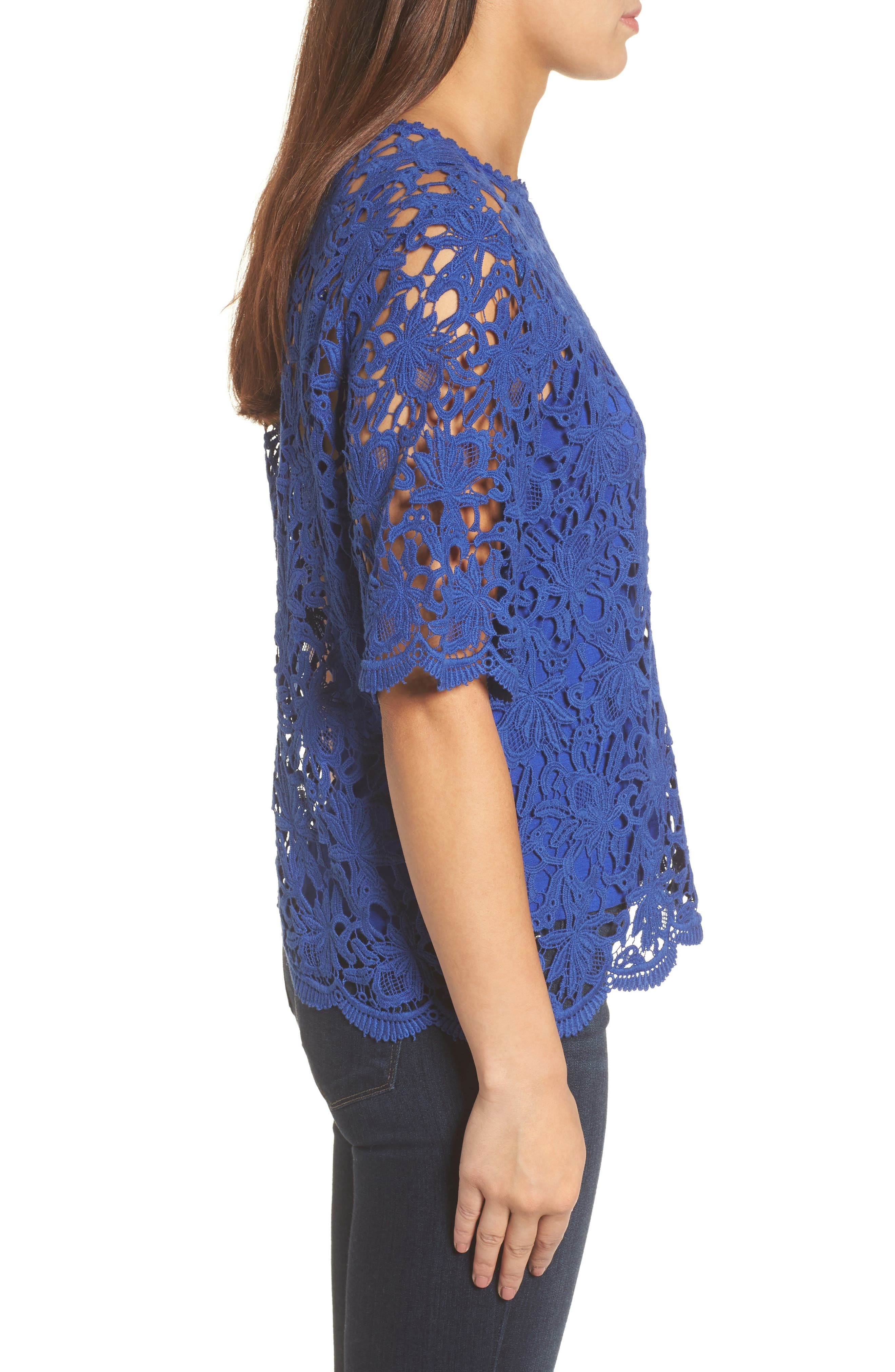 Lace Elbow Sleeve Blouse,                             Alternate thumbnail 6, color,