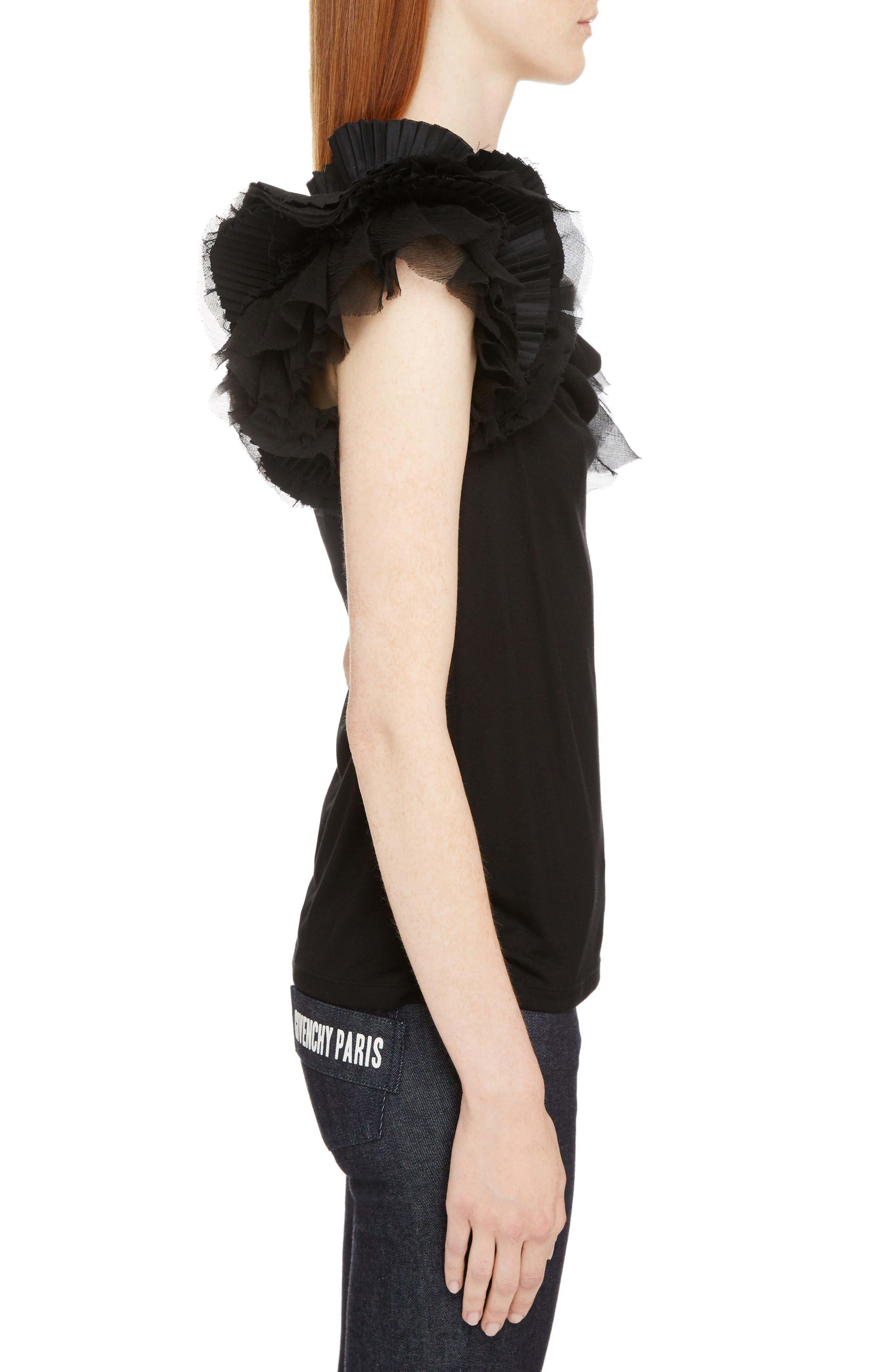 Ruffle Sleeve Jersey Top,                             Alternate thumbnail 3, color,                             001