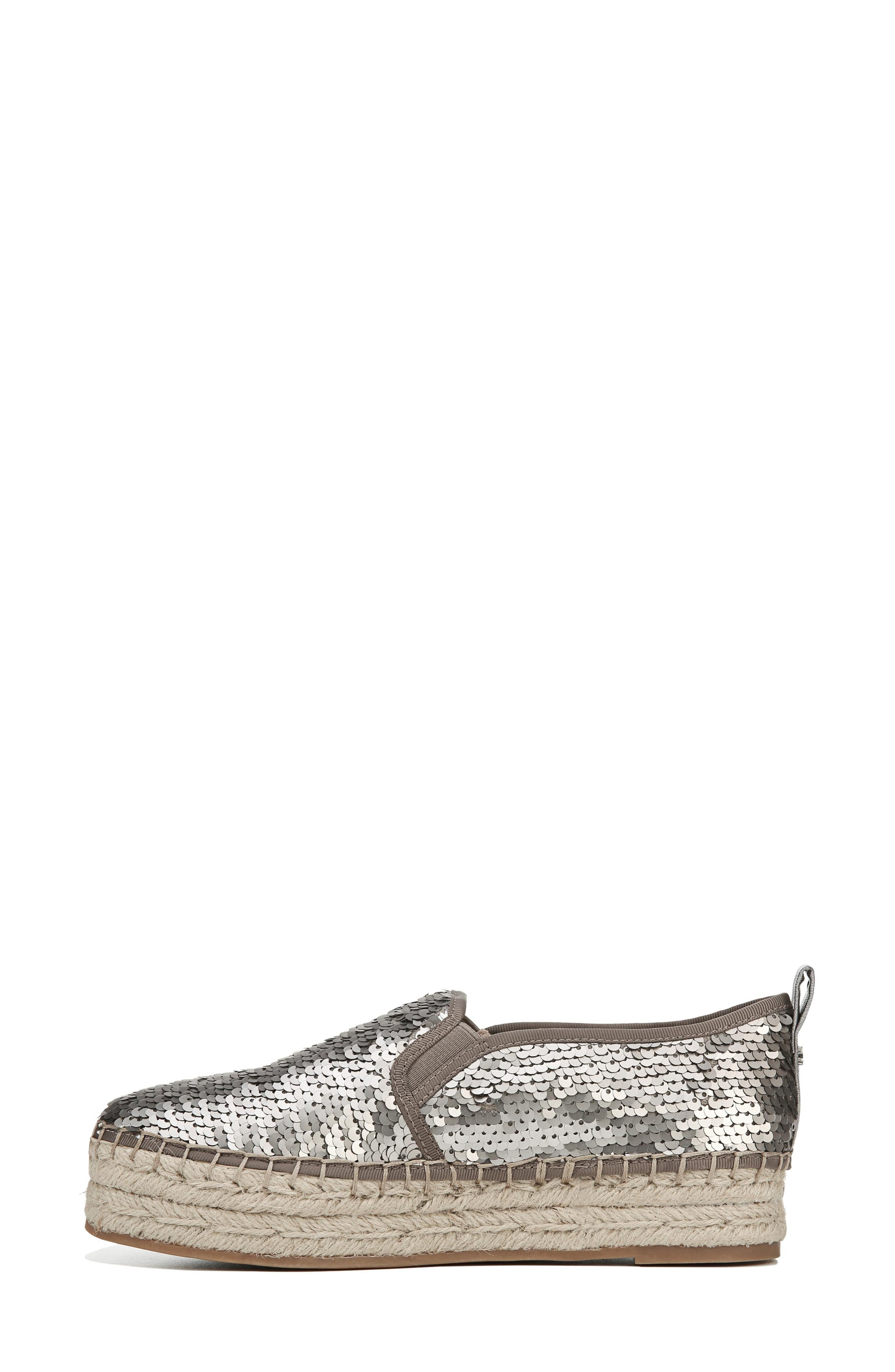 'Carrin' Espadrille Flat,                             Alternate thumbnail 3, color,                             PEWTER SEQUINS