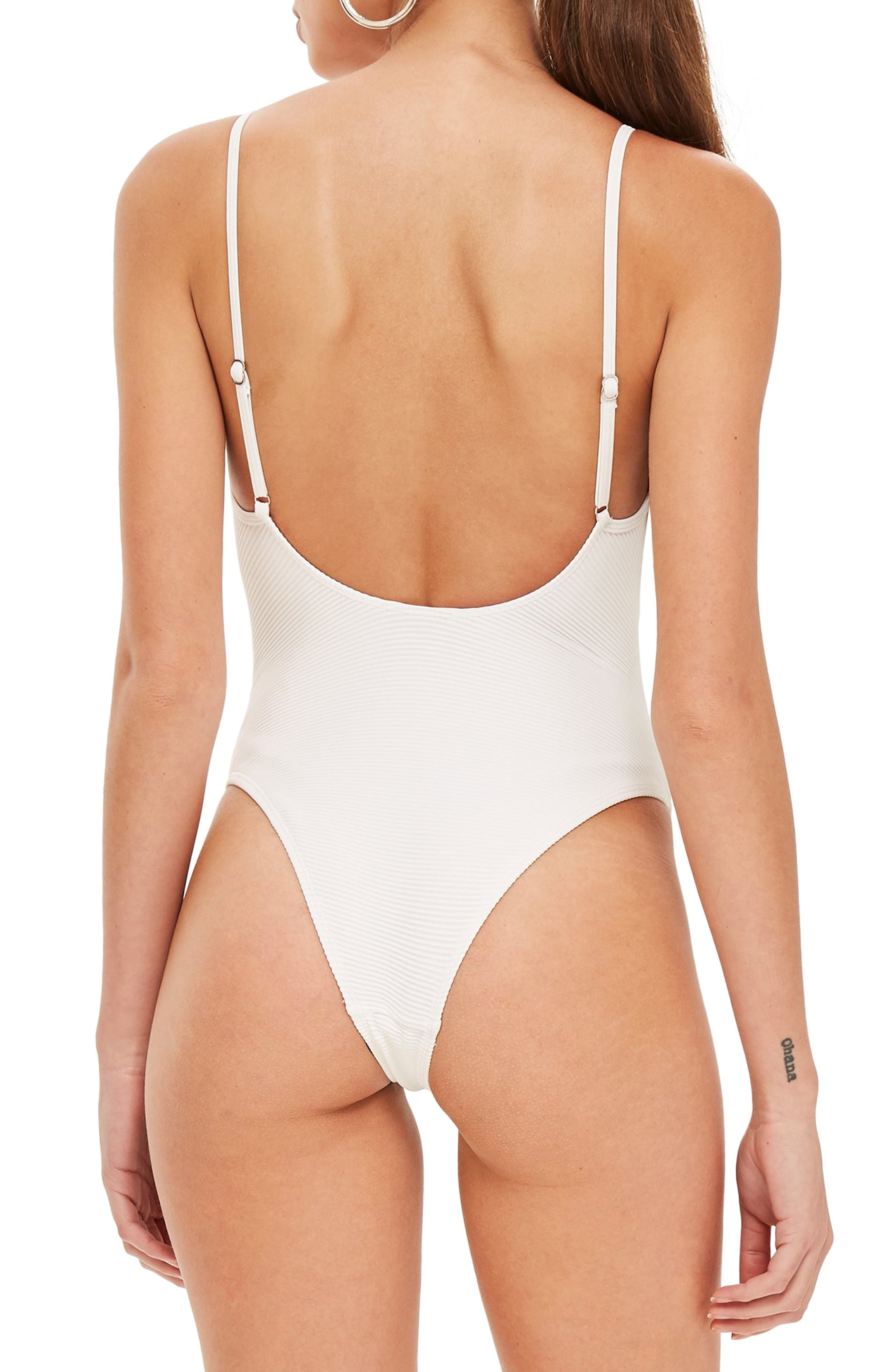 Ribbed Ring One-Piece Swimsuit,                             Alternate thumbnail 2, color,                             100