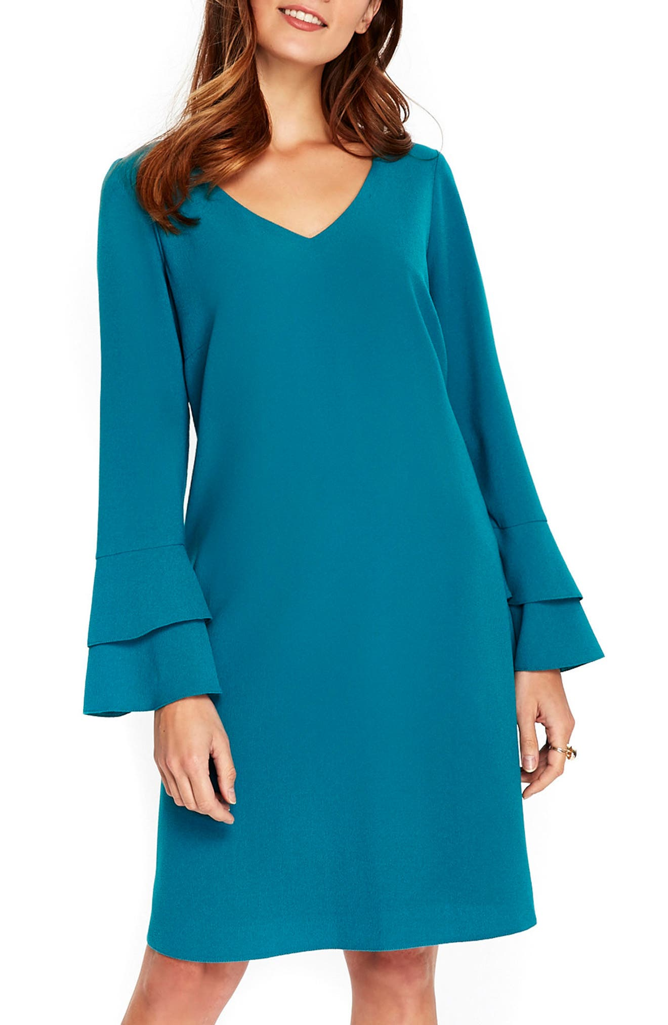 Bell Sleeve Shift Dress,                         Main,                         color, 440