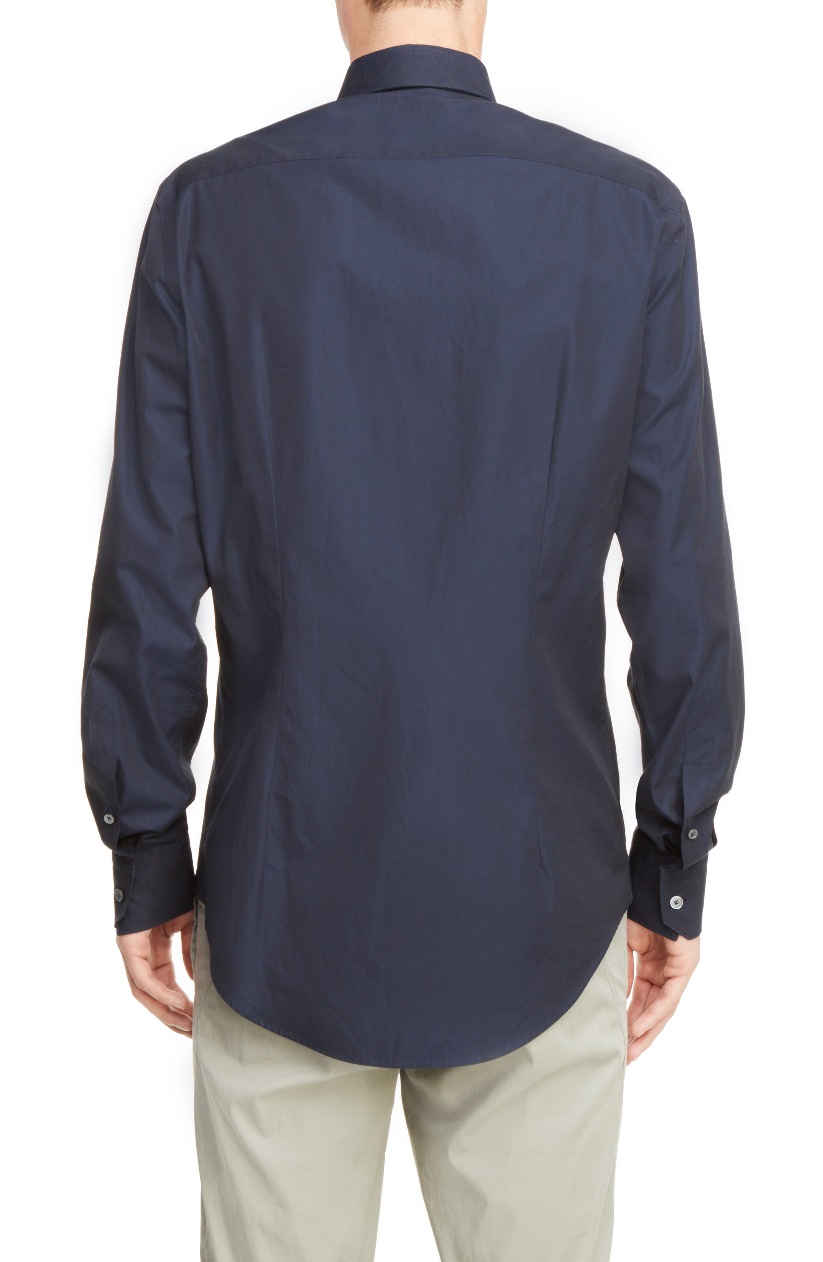 Covered Placket Sport Shirt,                             Alternate thumbnail 3, color,                             NAVY