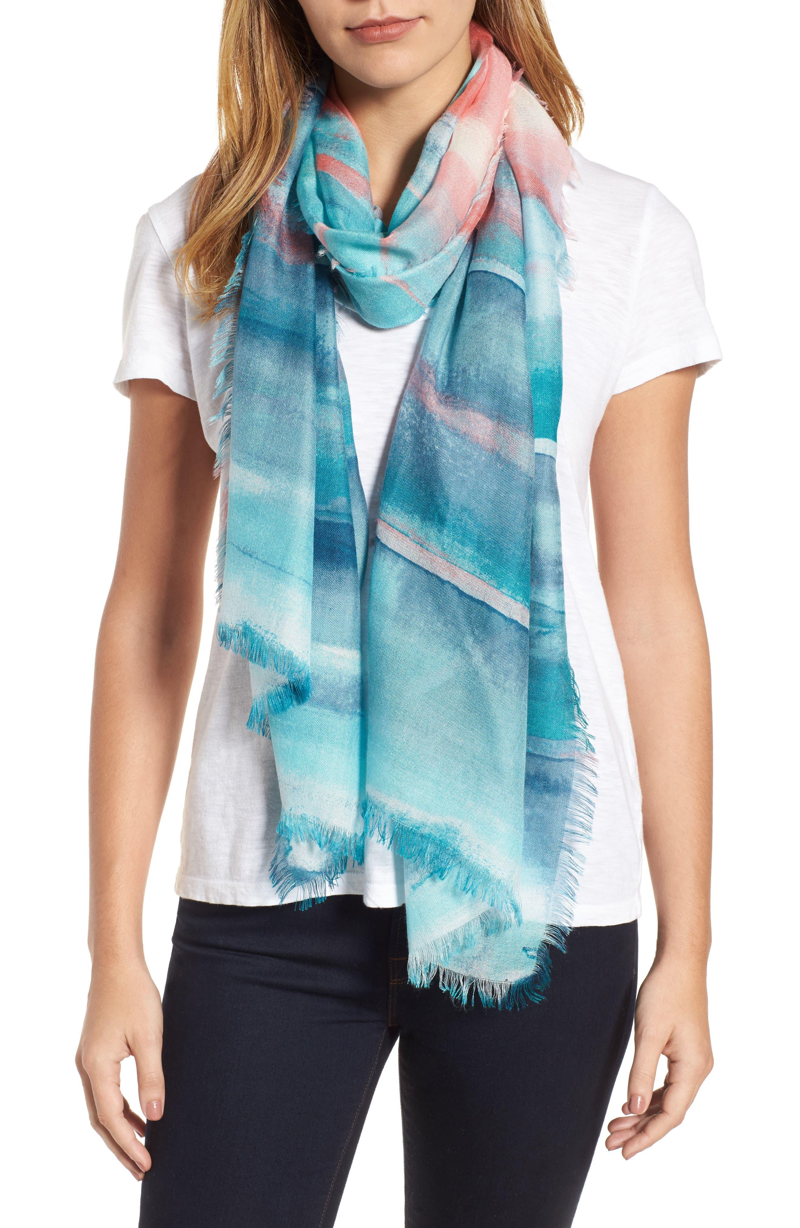 Eyelash Trim Print Cashmere & Silk Wrap,                             Main thumbnail 12, color,