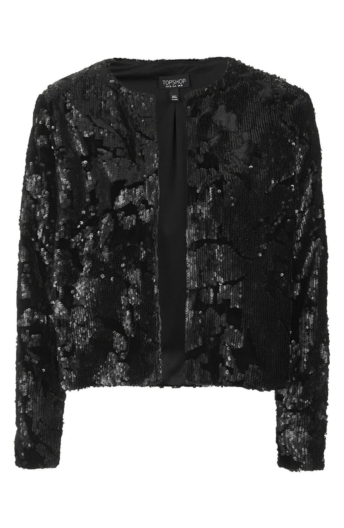 Velvet Sequin Jacket,                             Alternate thumbnail 4, color,                             001