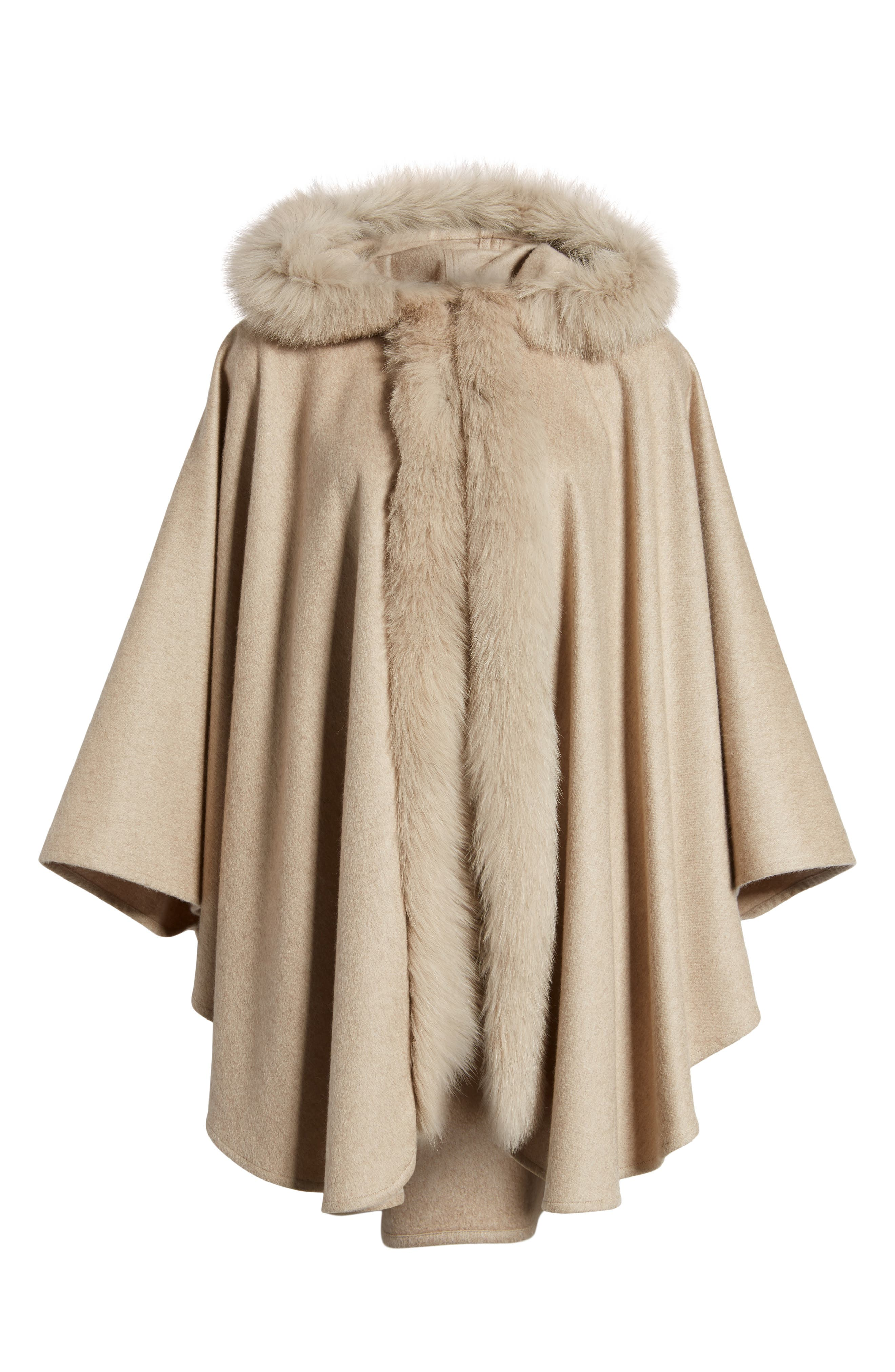 Cashmere Hooded Cape with Genuine Fox Fur Trim,                             Alternate thumbnail 6, color,                             020