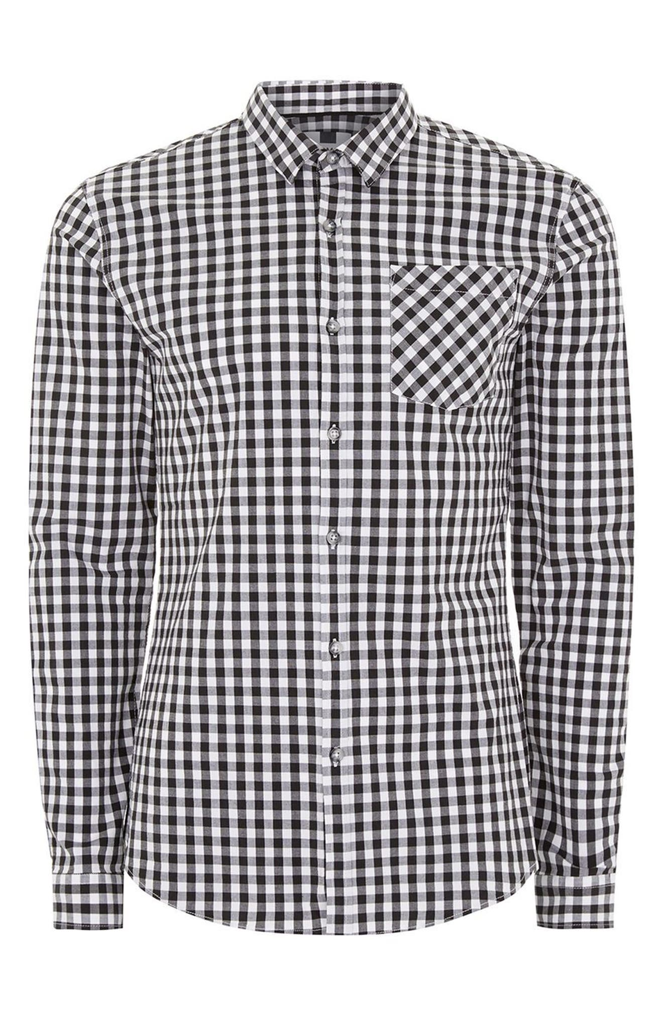 Muscle Fit Gingham Sport Shirt,                             Alternate thumbnail 4, color,                             001