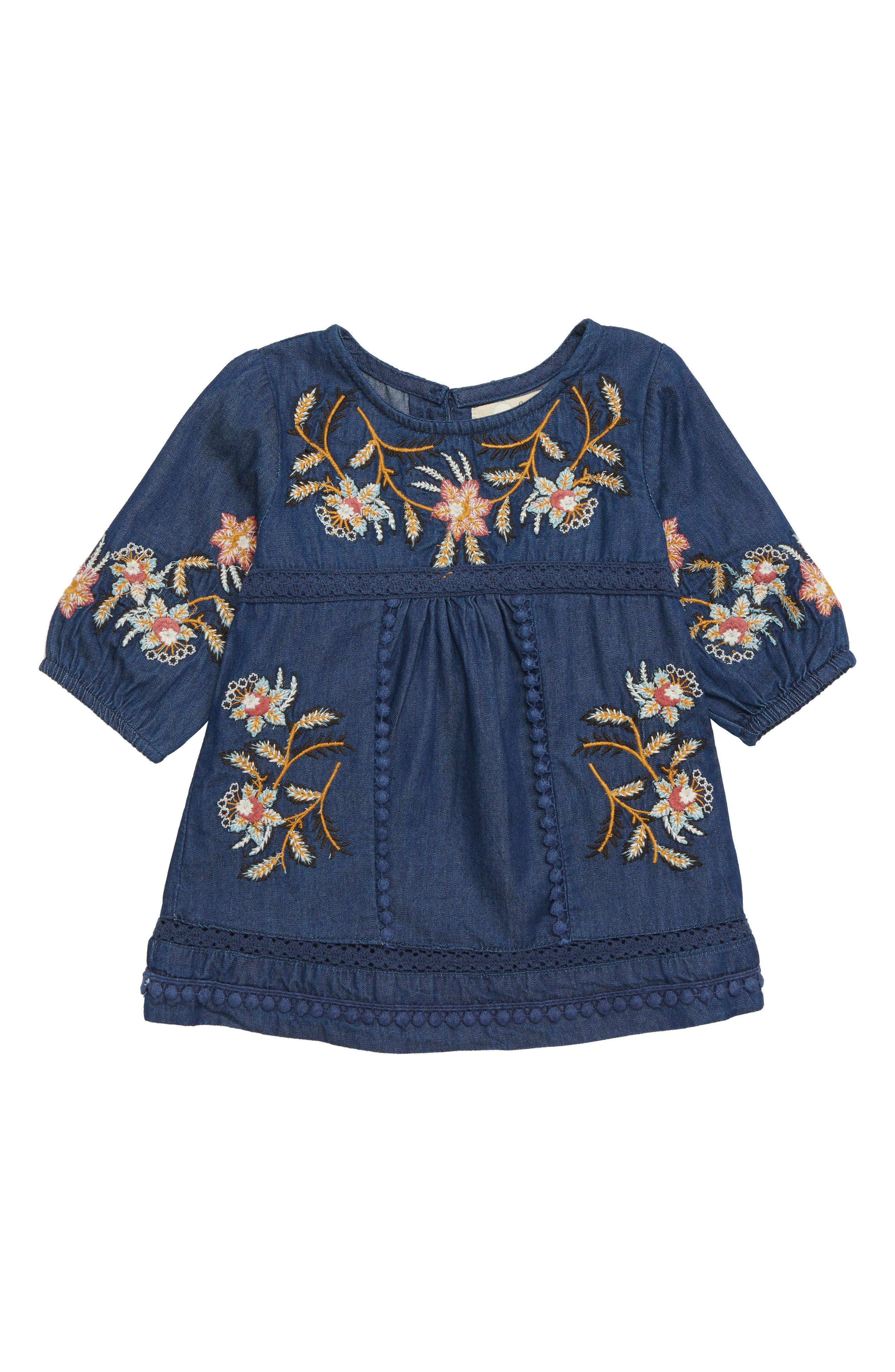Peek Willow Embroidered Denim Dress,                             Main thumbnail 1, color,                             NAVY