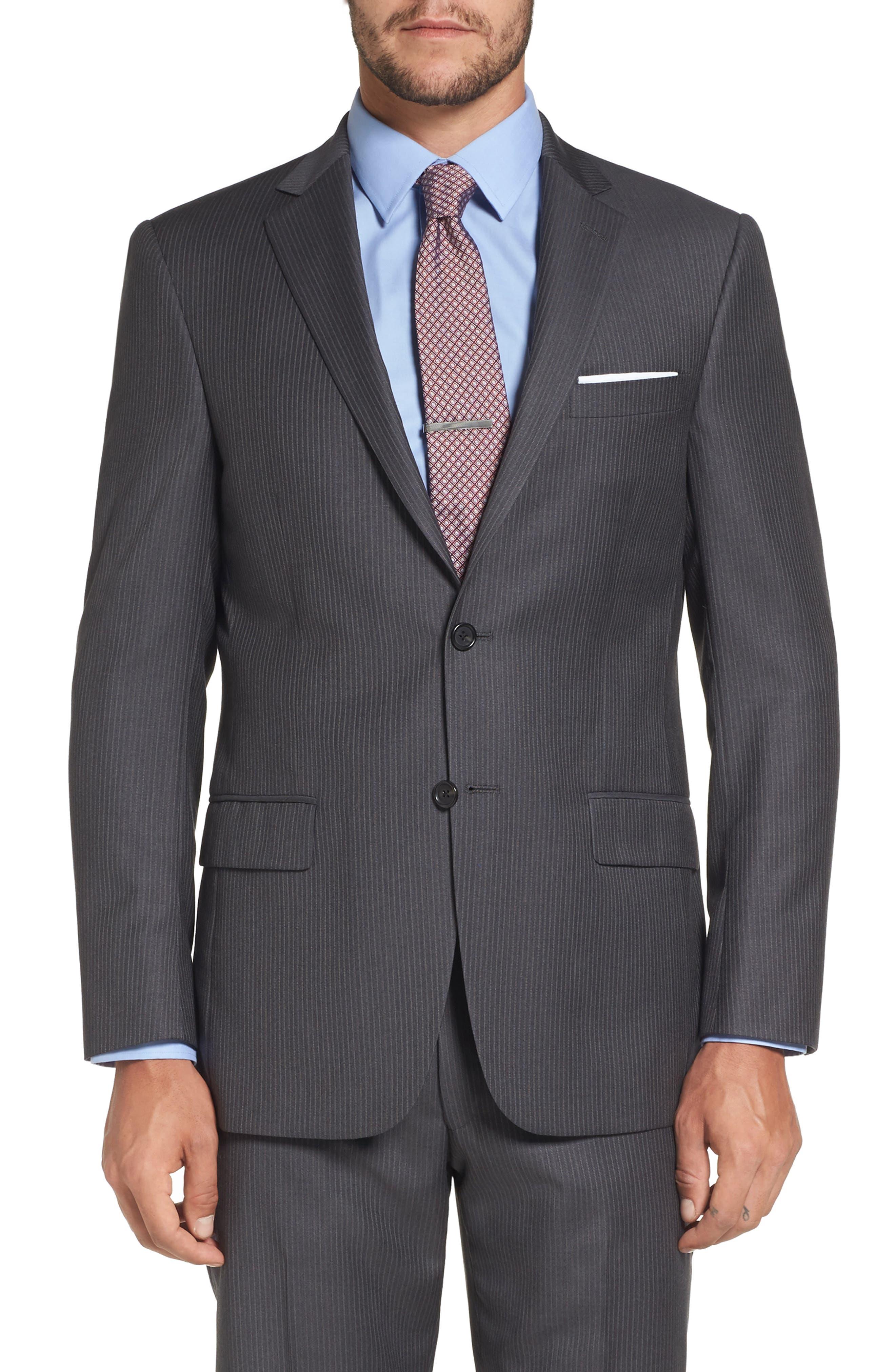 Classic Fit Stripe Wool Suit,                             Alternate thumbnail 5, color,                             030