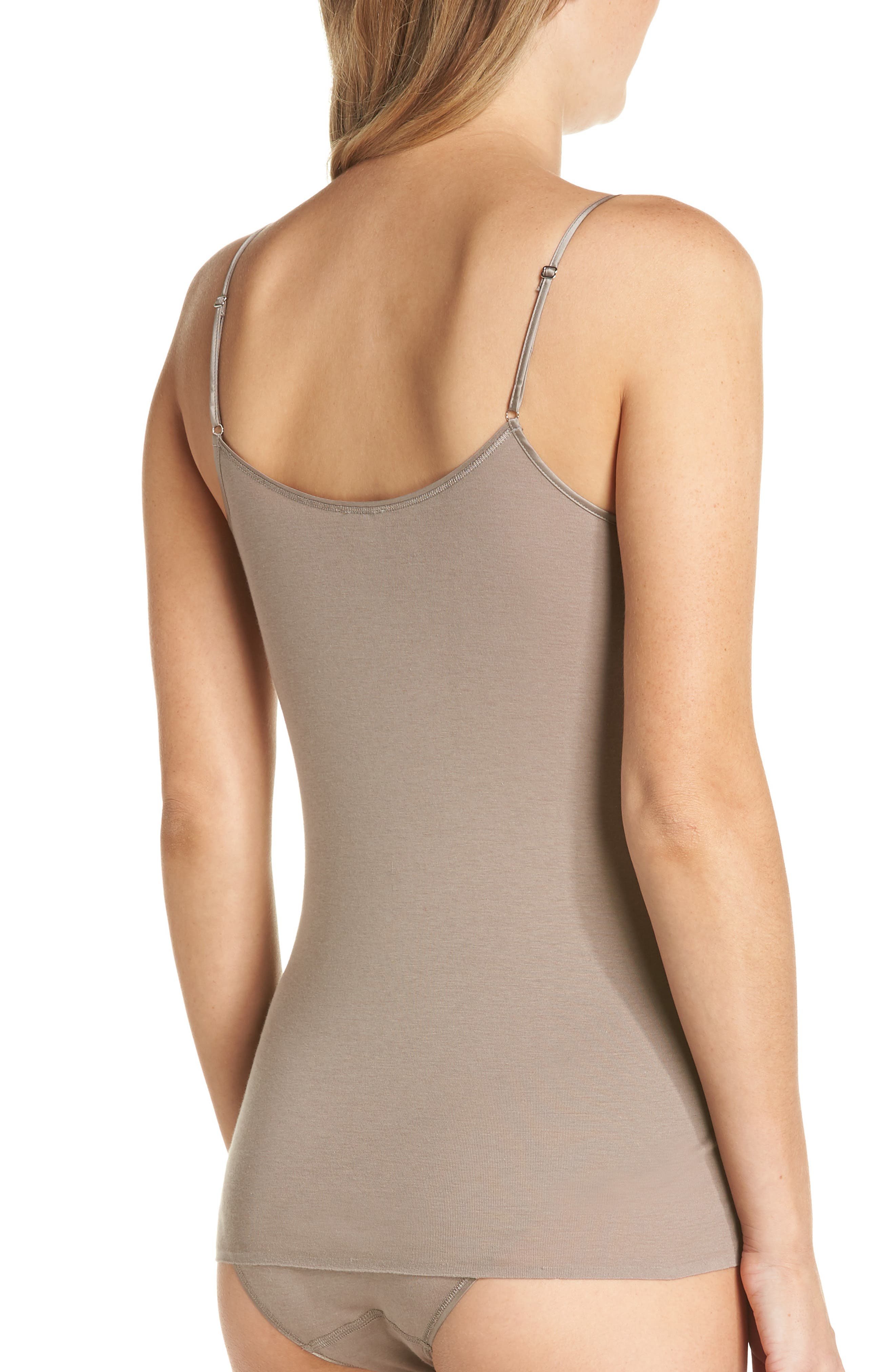 HANRO,                             Seamless V-Neck Cotton Camisole,                             Alternate thumbnail 2, color,                             VINTAGE TAUPE 1871