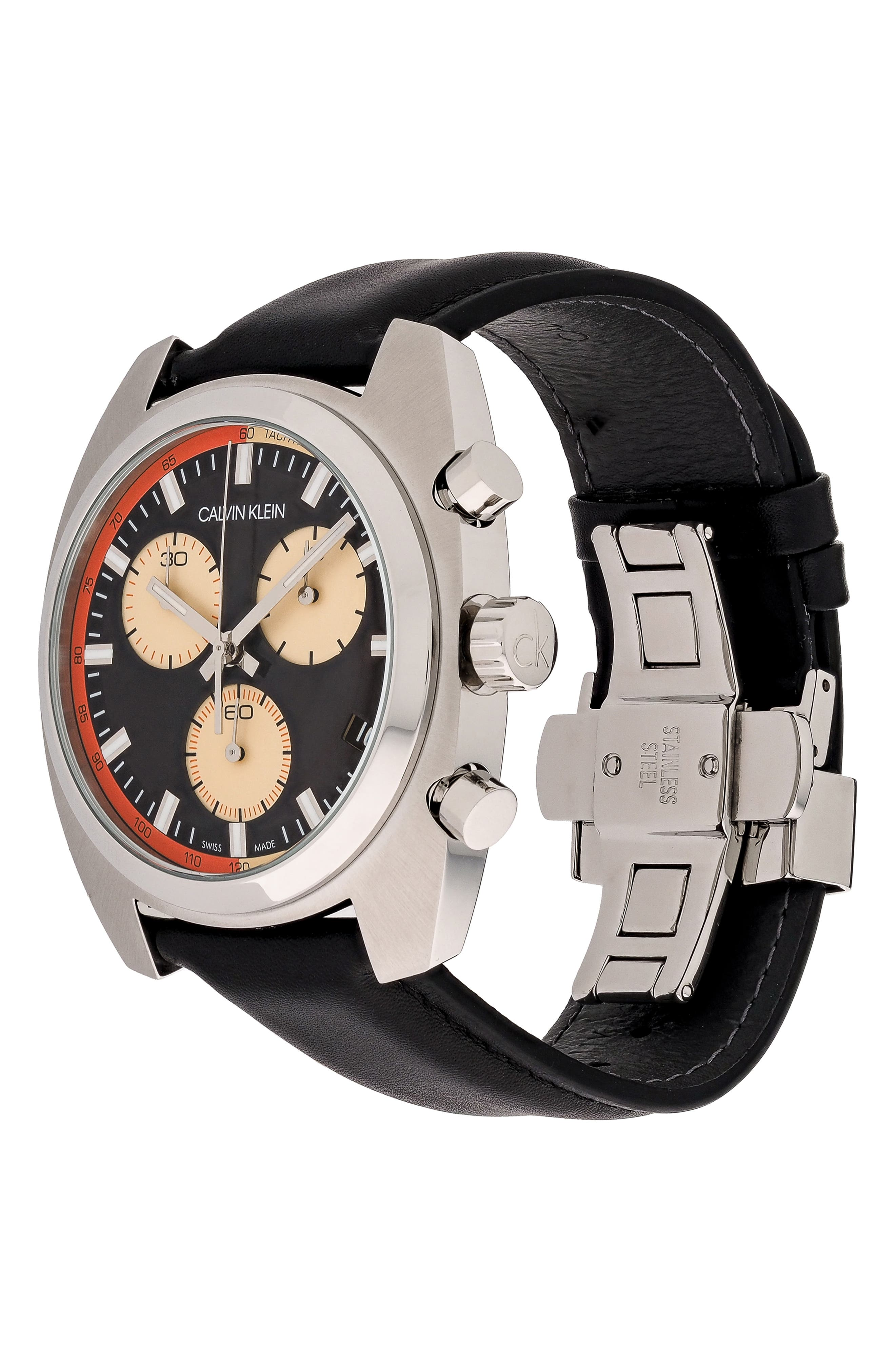 Achieve Chronograph Leather Band Watch, 43mm,                             Alternate thumbnail 4, color,                             BLACK/ SILVER