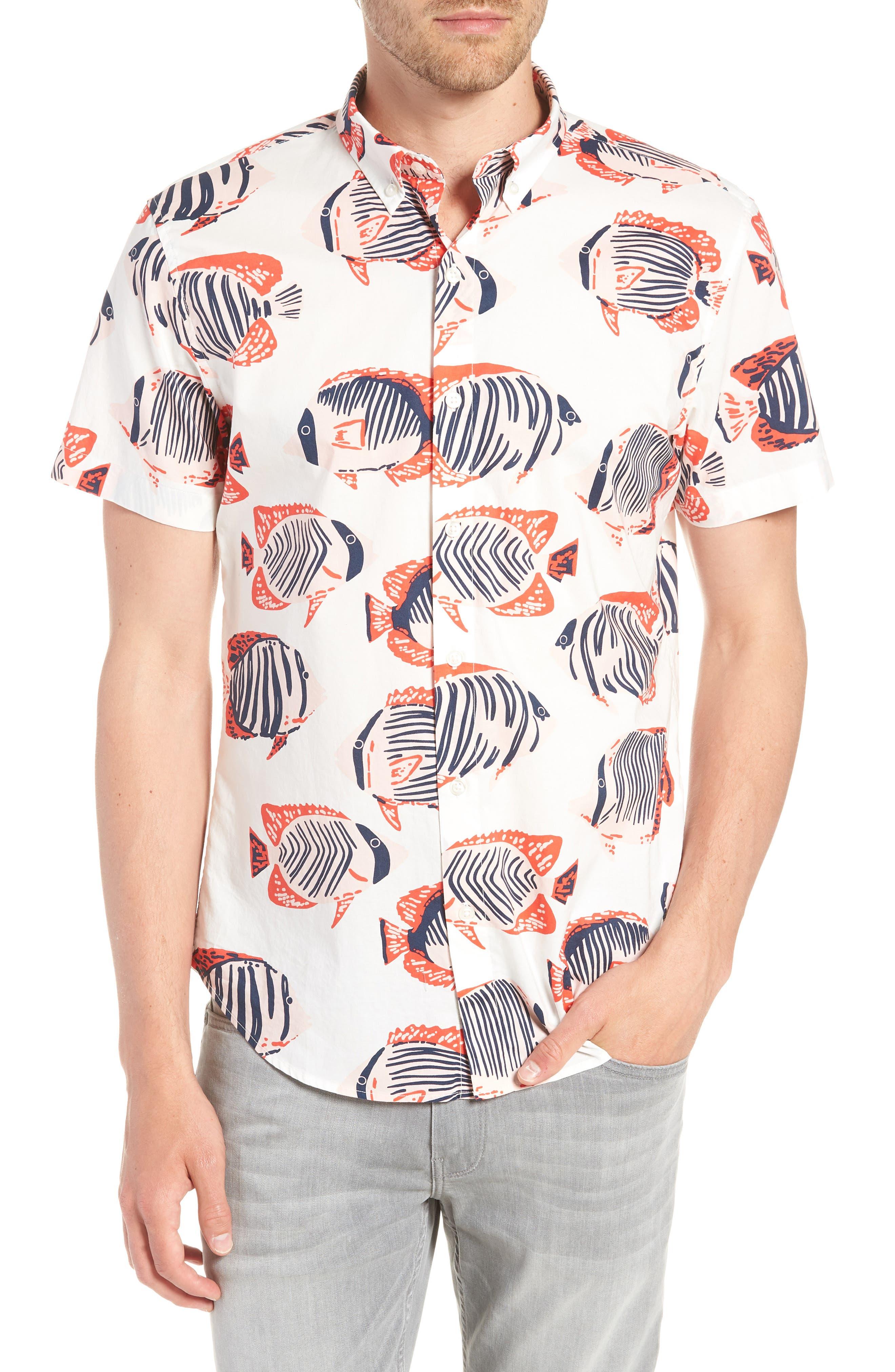 Riviera Slim Fit Fish Print Sport Shirt,                         Main,                         color, 100