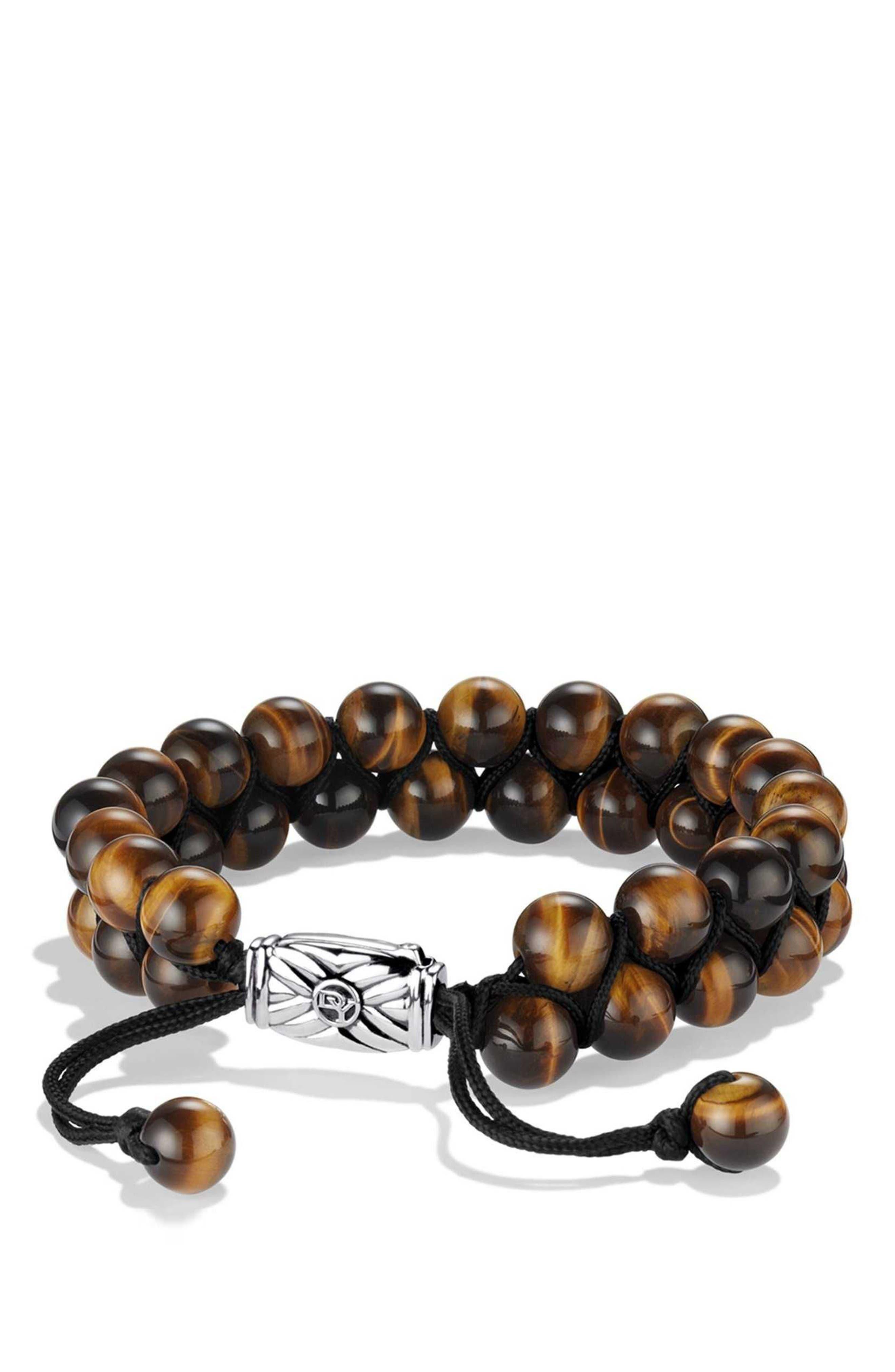 'Spiritual Beads' Two-Row Bracelet with Malachite,                             Main thumbnail 1, color,                             TIGERS EYE
