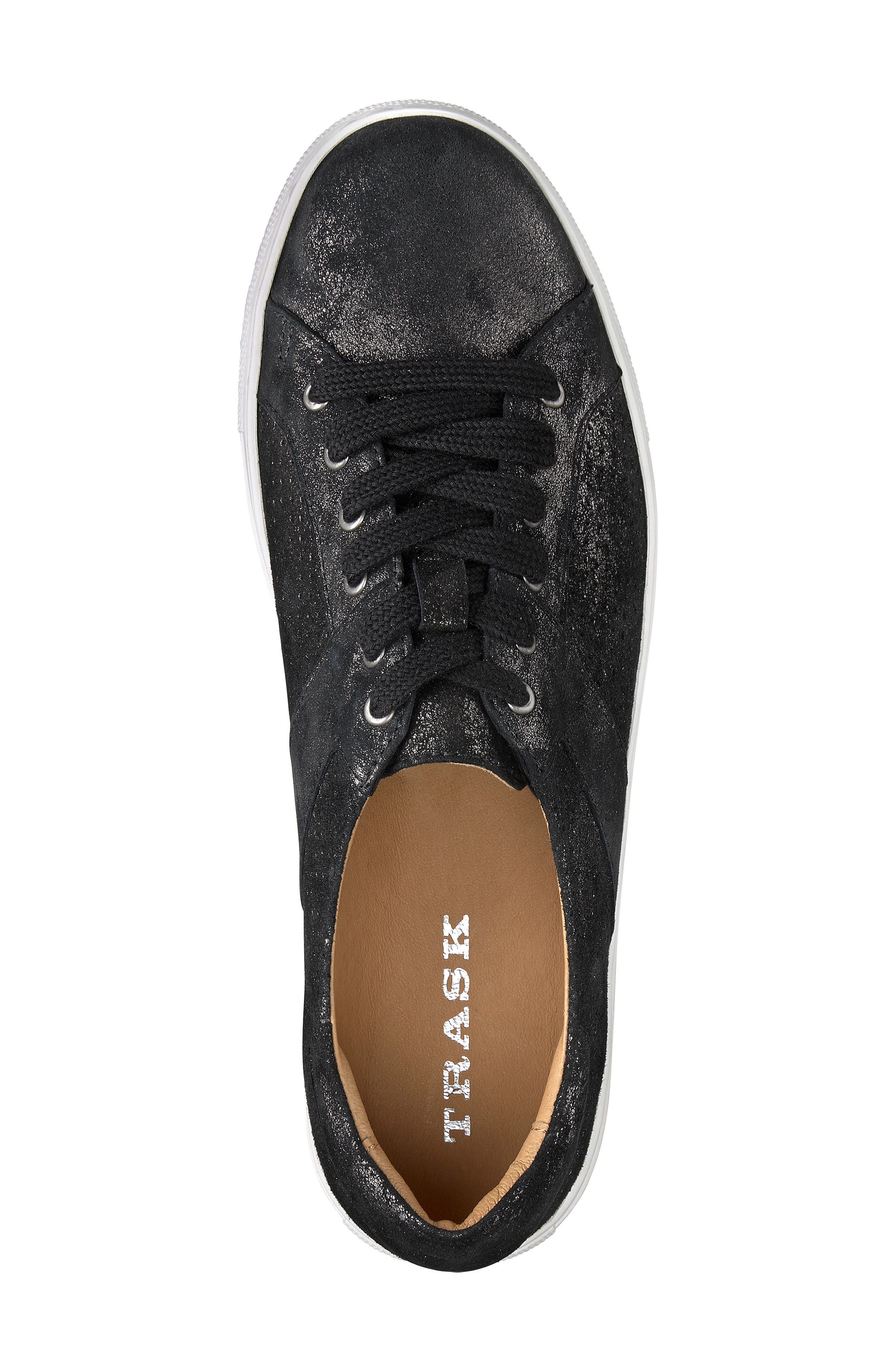 Lindsey Sneaker,                             Alternate thumbnail 5, color,                             BLACK METALLIC LEATHER