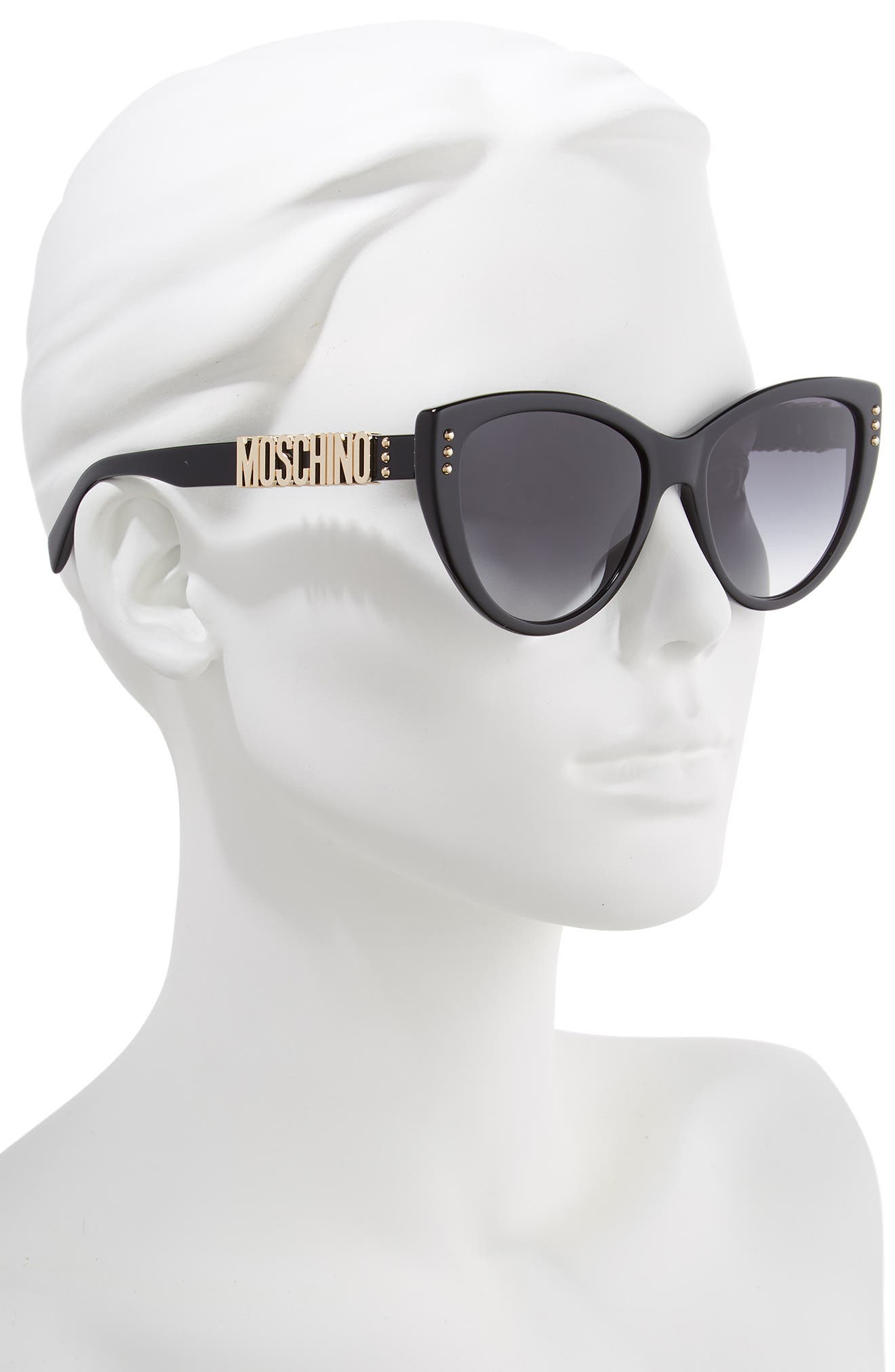 56mm Gradient Cat Eye Sunglasses,                             Alternate thumbnail 2, color,                             BLACK