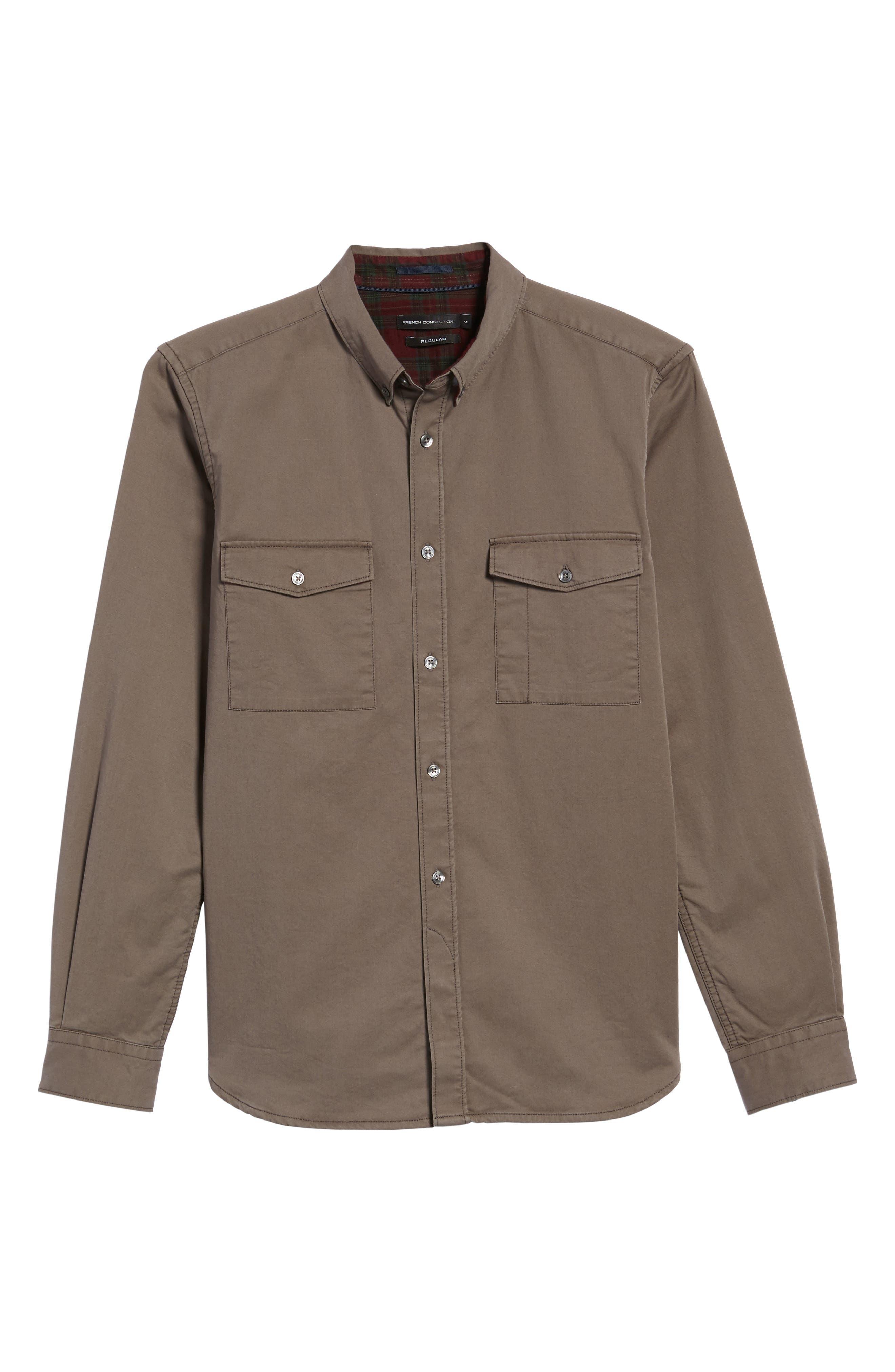Regular Fit Twill Sport Shirt,                             Alternate thumbnail 6, color,