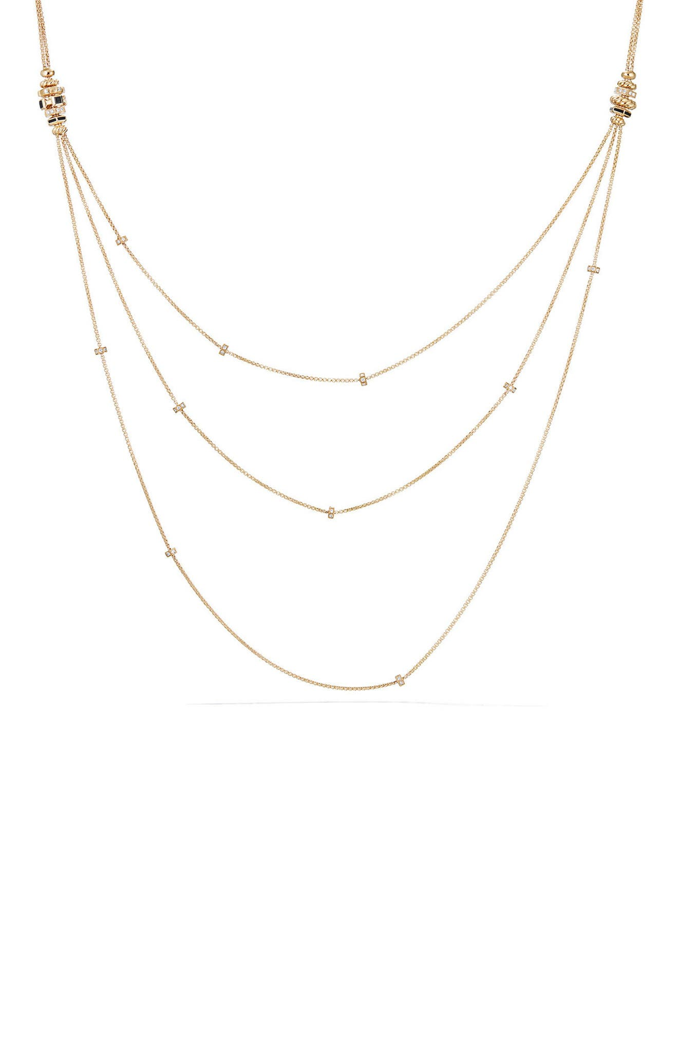 Stax 18K Gold Chain Necklace with Diamonds,                         Main,                         color, BLACK SPINEL