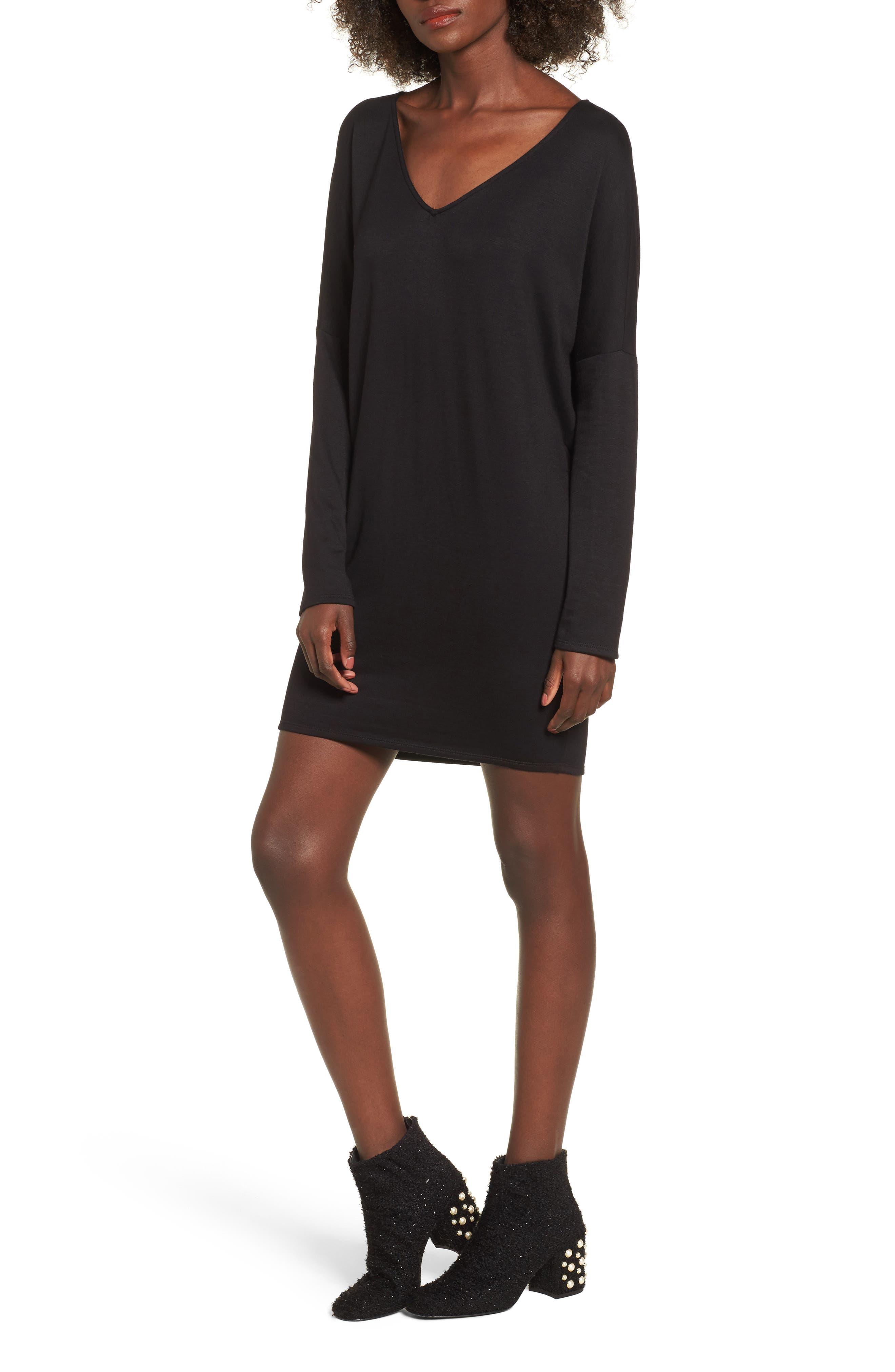 V-Neck Dress,                             Main thumbnail 1, color,                             001