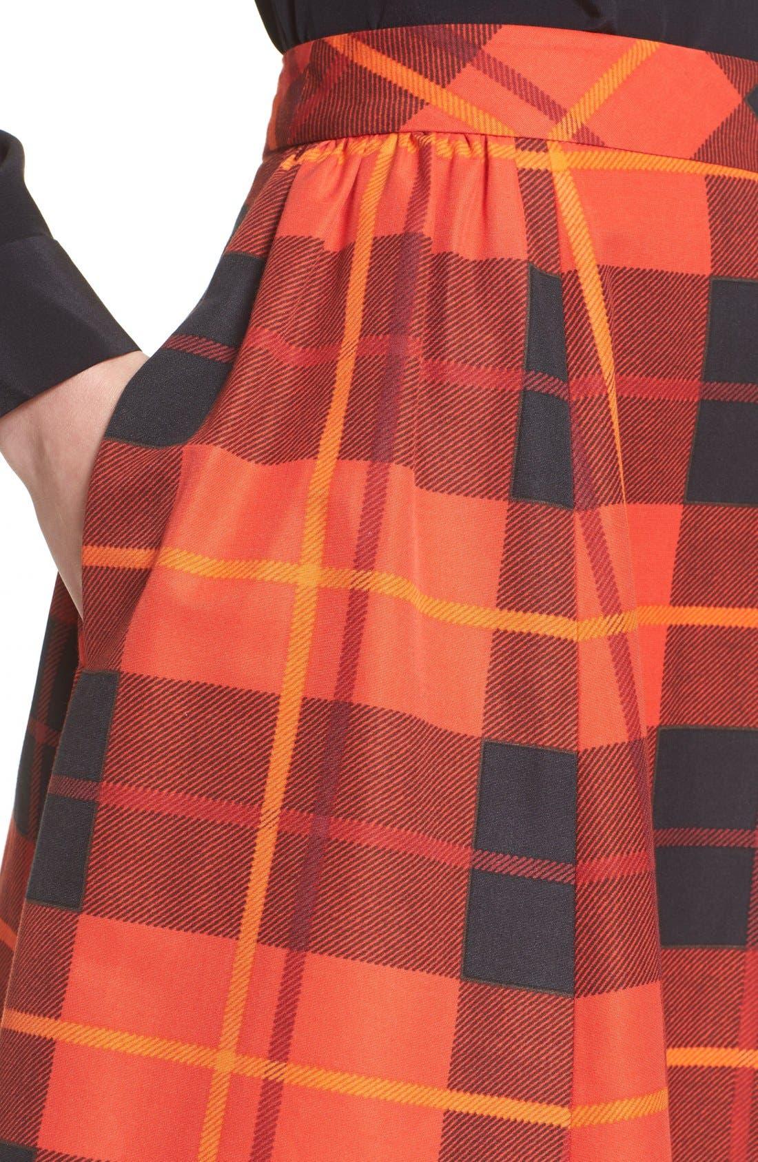 KATE SPADE NEW YORK,                             katespade new yorkwoodland plaid midi skirt,                             Alternate thumbnail 2, color,                             601